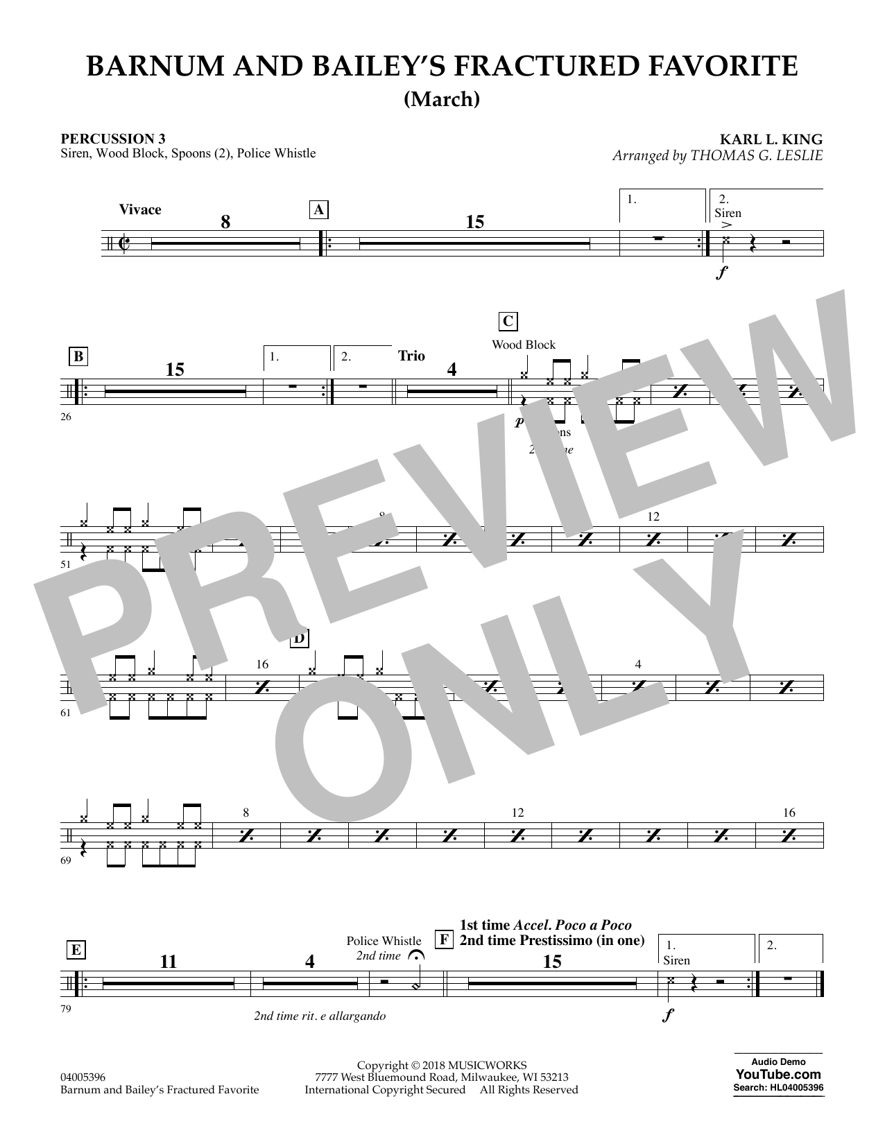 Barnum and Bailey's Fractured Favorite - Percussion 3 (Concert Band)