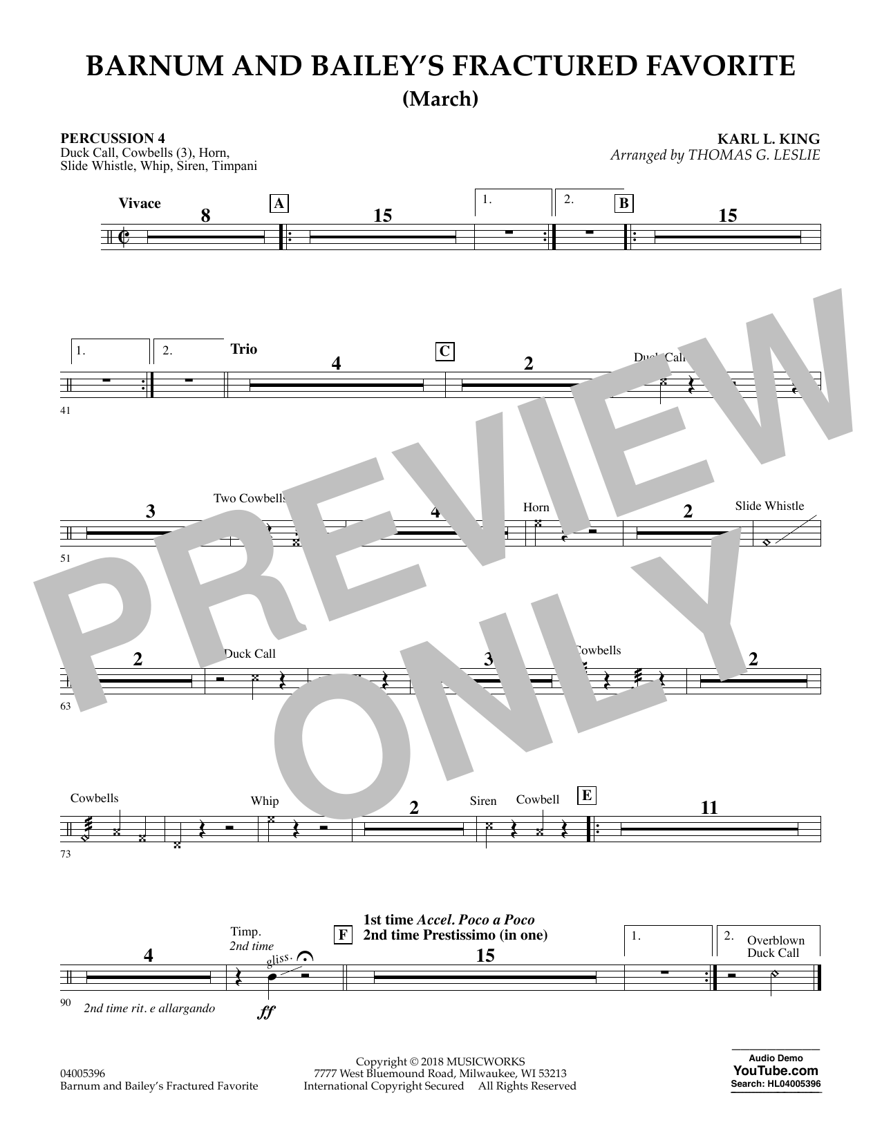 Barnum and Bailey's Fractured Favorite - Percussion 4 (Concert Band)
