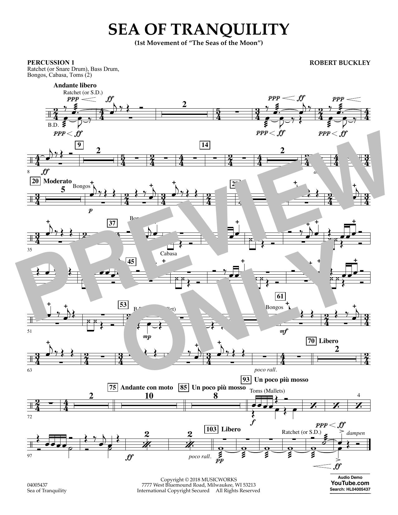 Sea of Tranquility - Percussion 1 (Concert Band)