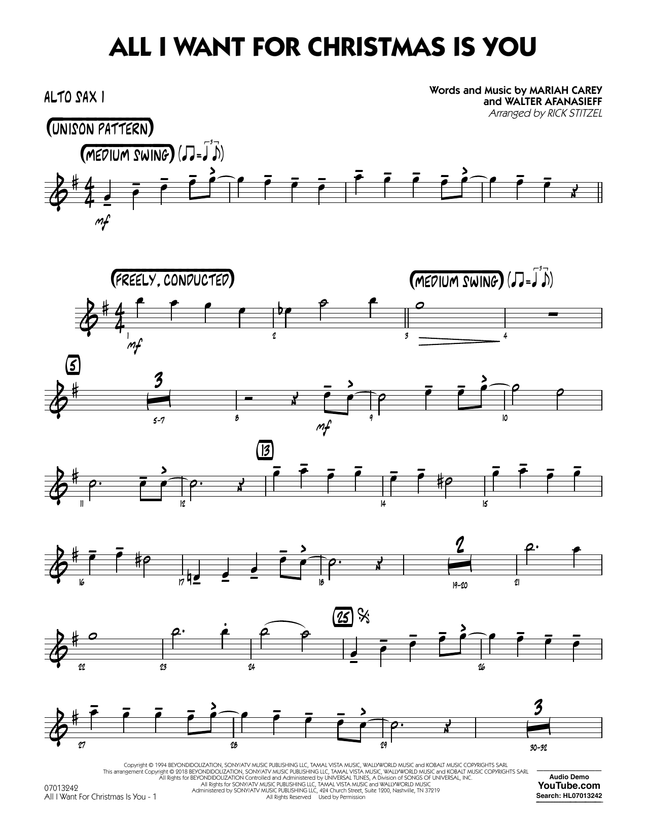 All I Want For Christmas Is You - Alto Sax 1 at Stanton\'s Sheet Music