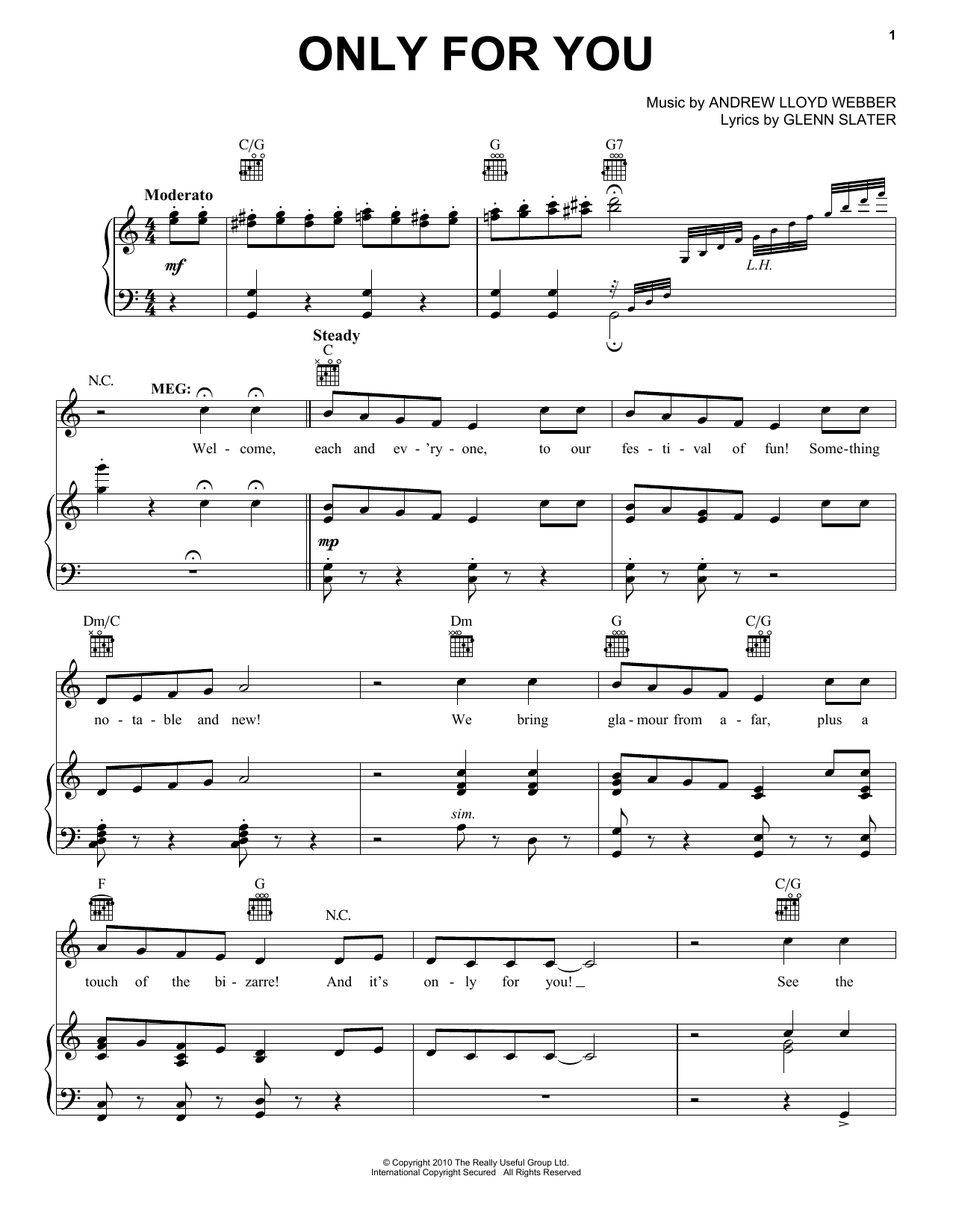Only For Him/Only For You (from 'Love Never Dies') (Piano, Vocal & Guitar (Right-Hand Melody))