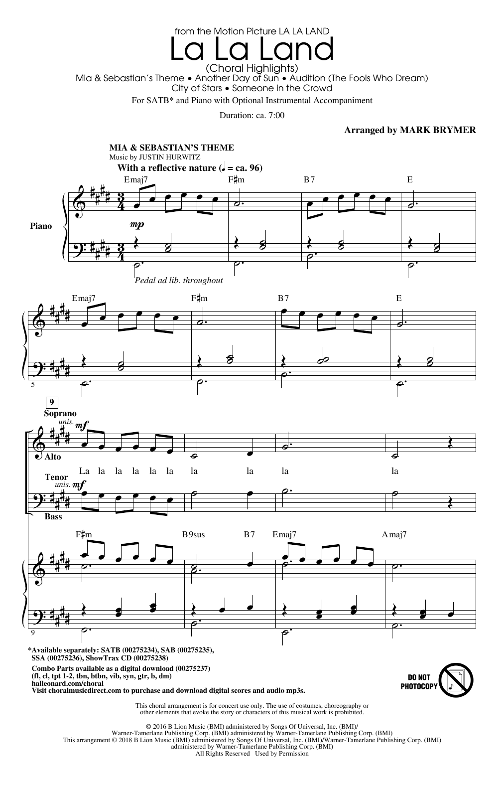 La La Land: Choral Highlights (arr. Mark Brymer) (SATB Choir)