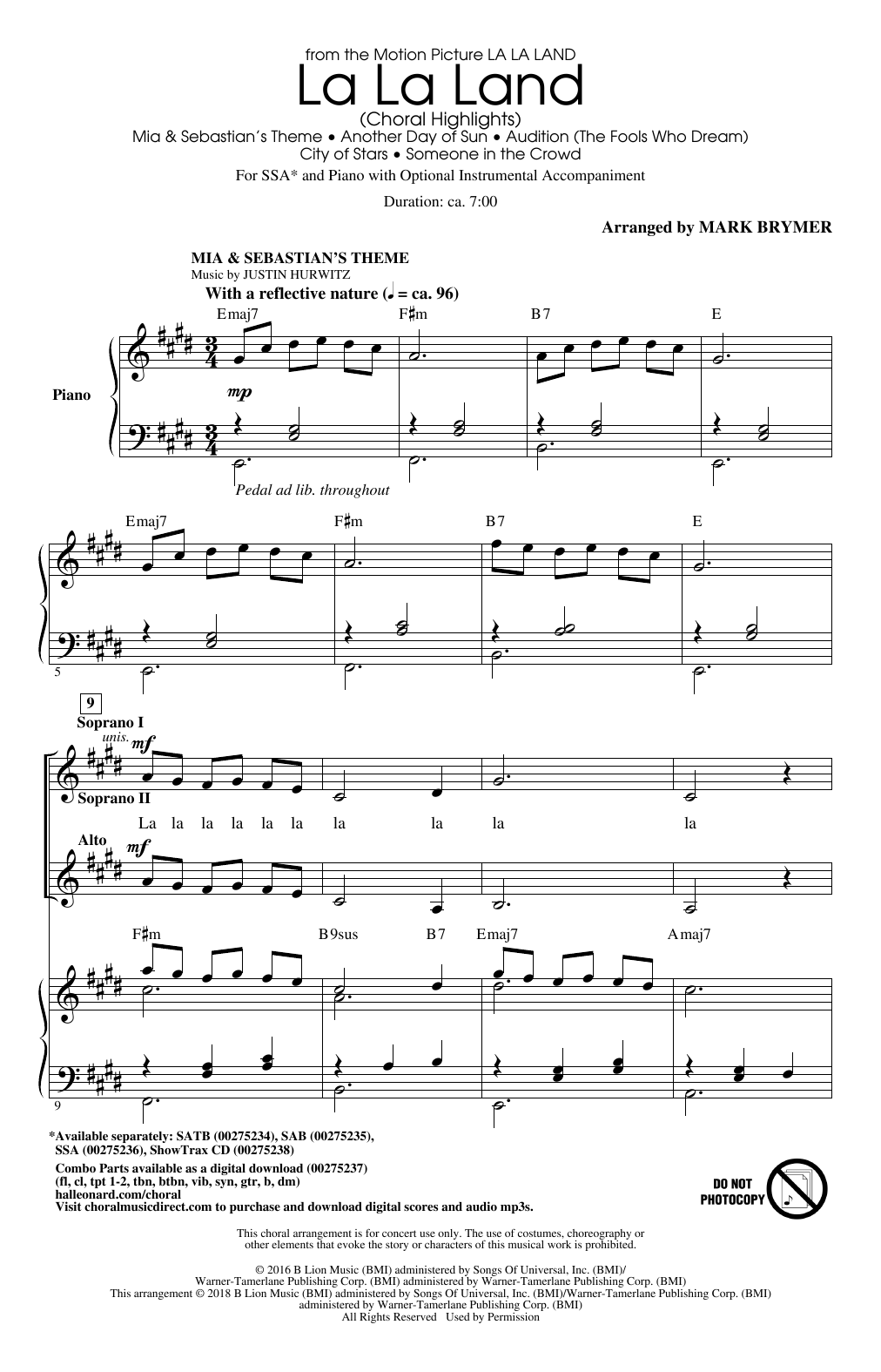 la la land sheet music pdf free