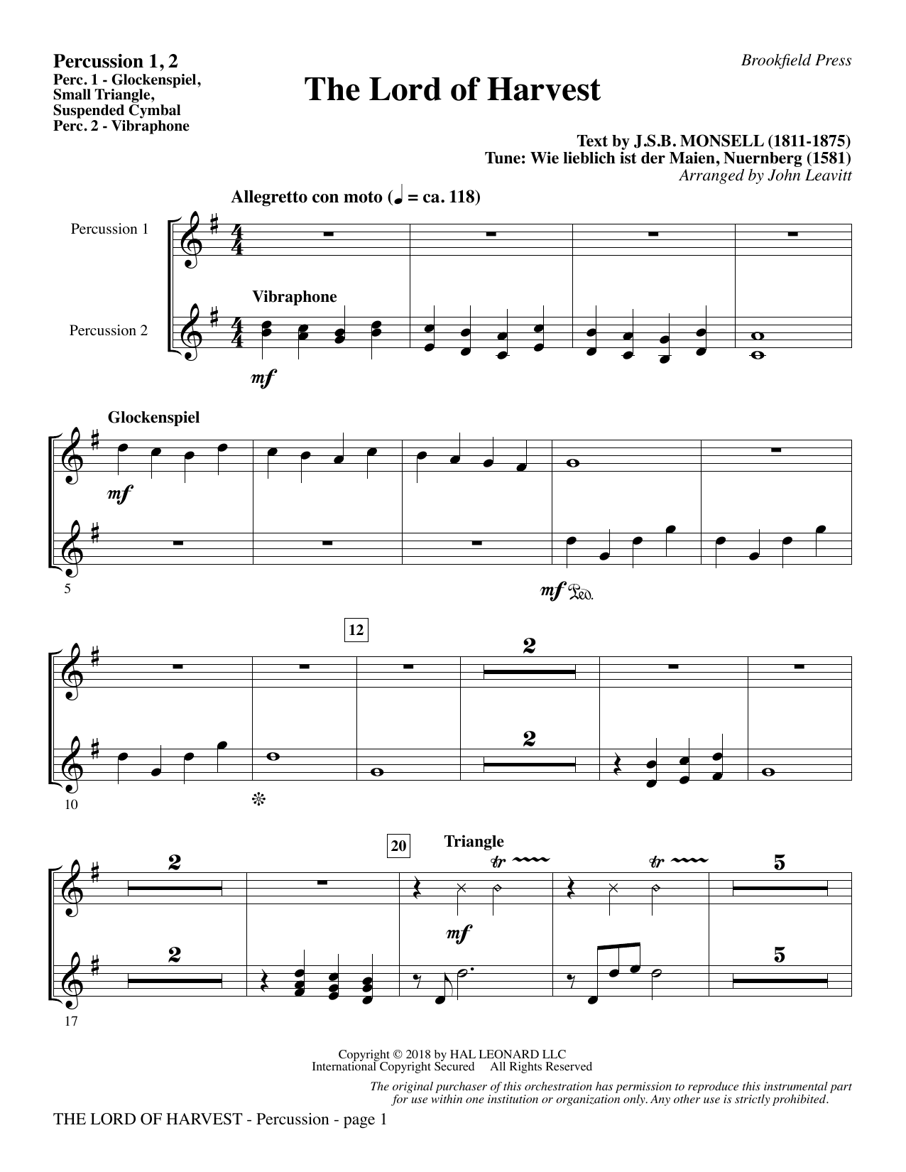 page one of The Lord of Harvest - Percussion 1 & 2ASALTTEXT
