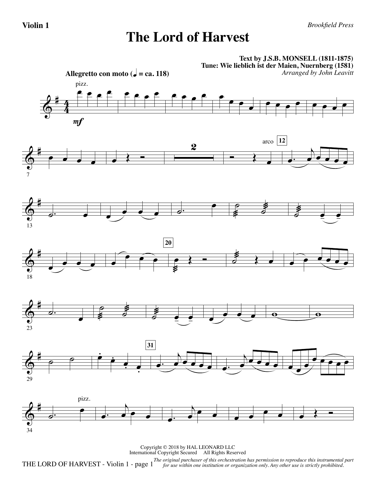 page one of The Lord of Harvest - Violin 1ASALTTEXT
