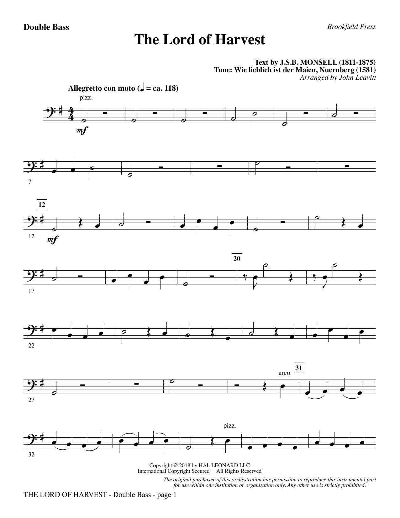 The Lord of Harvest - Double Bass (Choir Instrumental Pak)