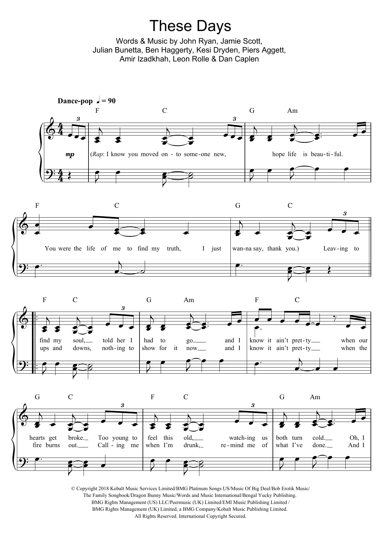 These Days (featuring Jess Glynne, Macklemore and Dan Caplen) Sheet Music