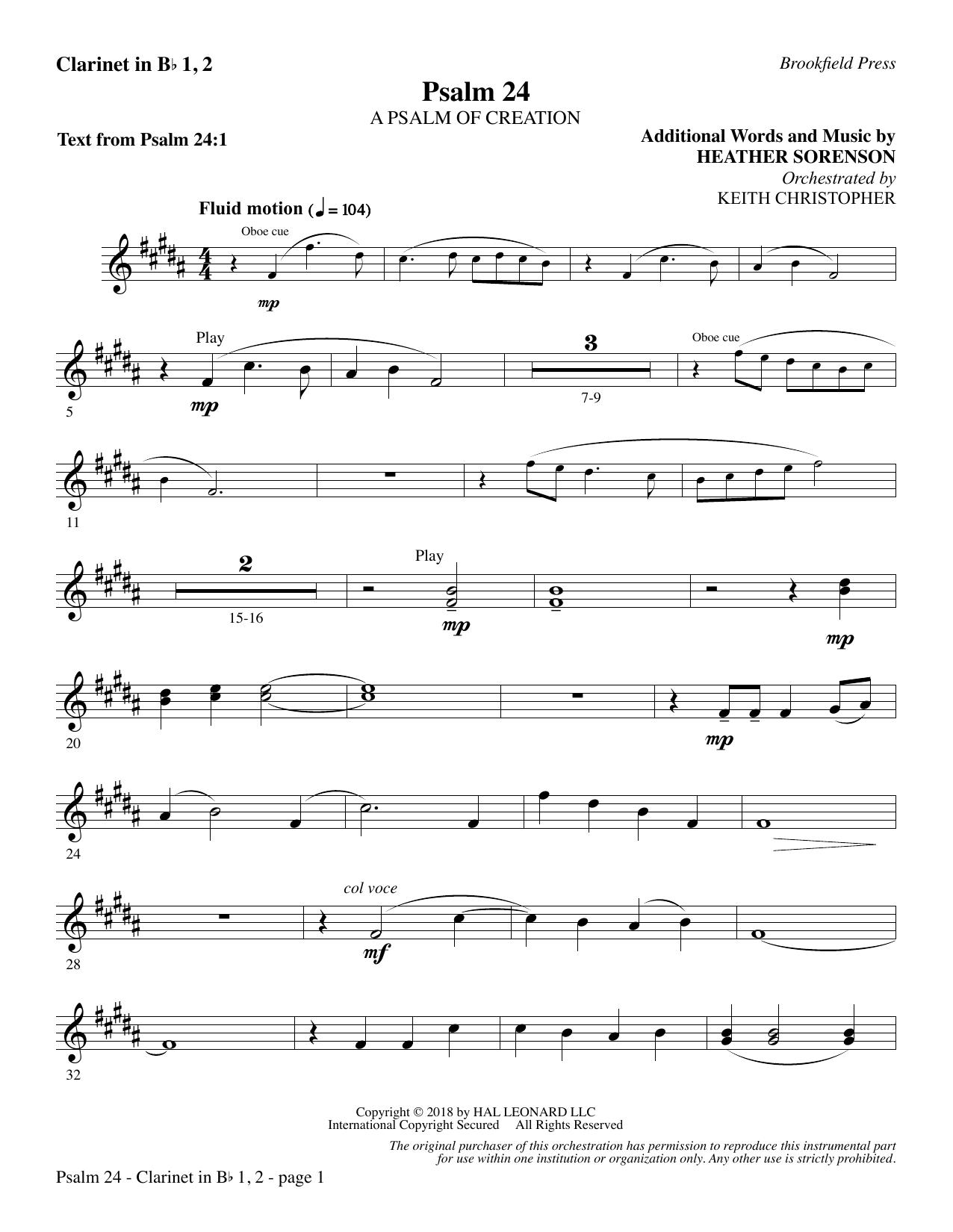 Psalm 24 - Bb Clarinet 1 & 2 (Choir Instrumental Pak)