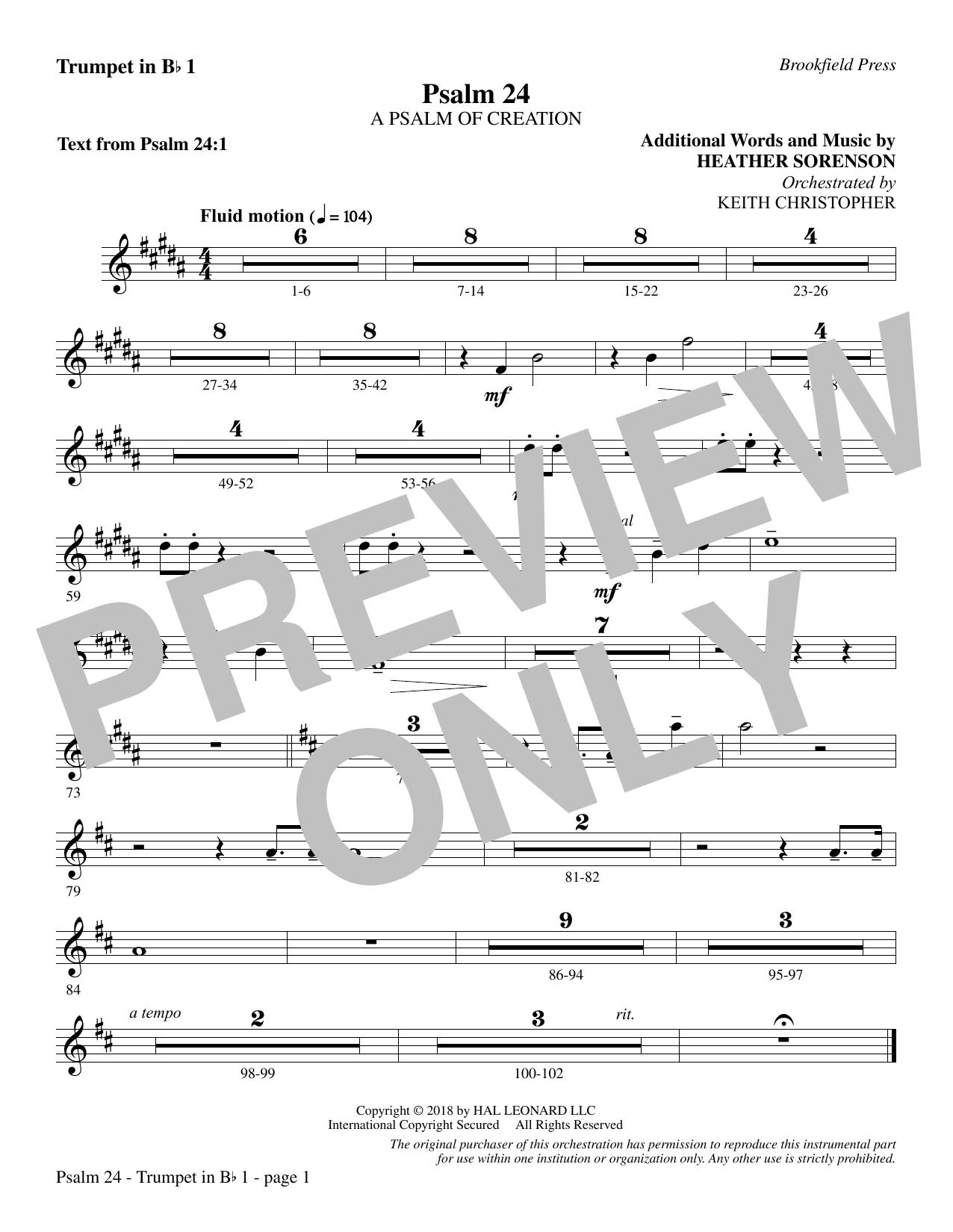 Psalm 24 - Bb Trumpet 1 (Choir Instrumental Pak)