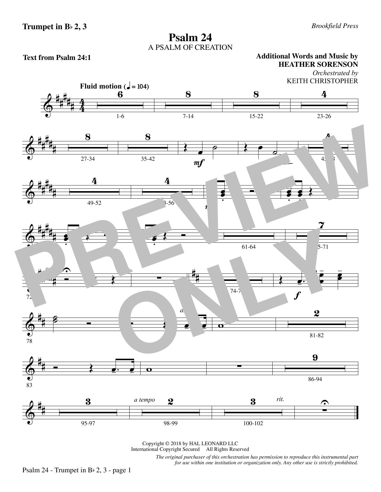 Psalm 24 - Bb Trumpet 2,3 (Choir Instrumental Pak)