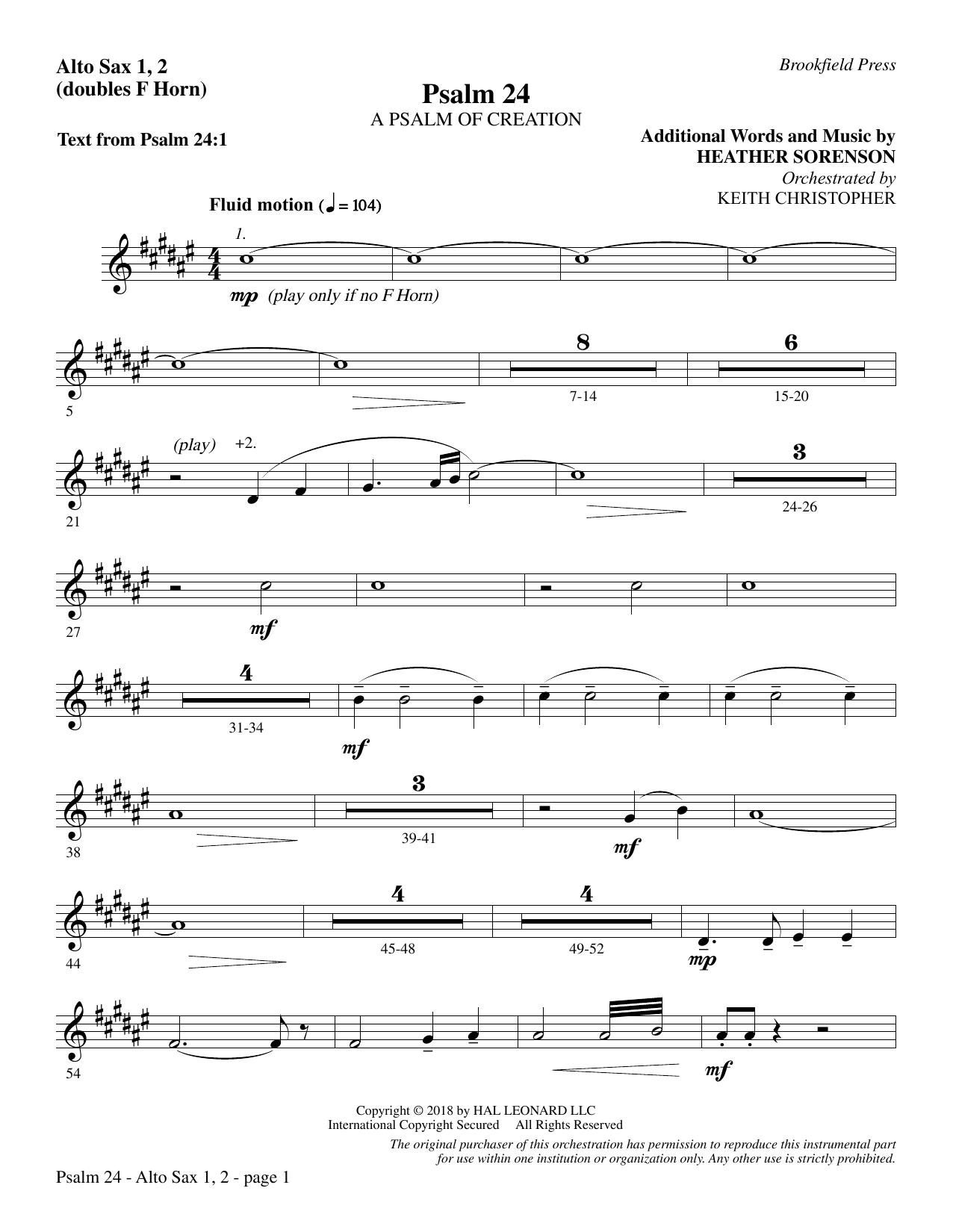 Psalm 24 - Alto Sax 1-2 (sub. Horn 1-2) (Choir Instrumental Pak)