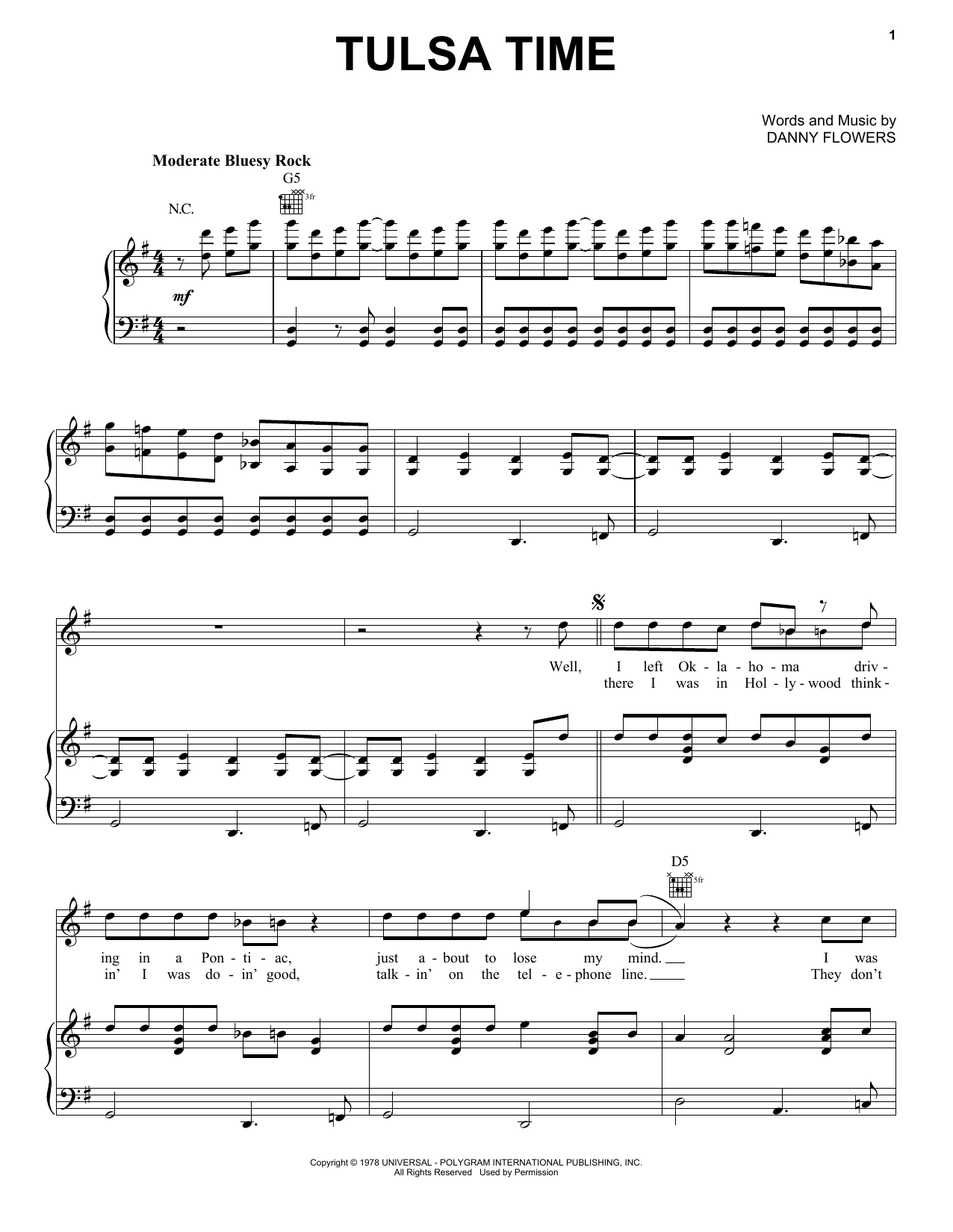 Tulsa Time (Piano, Vocal & Guitar (Right-Hand Melody))