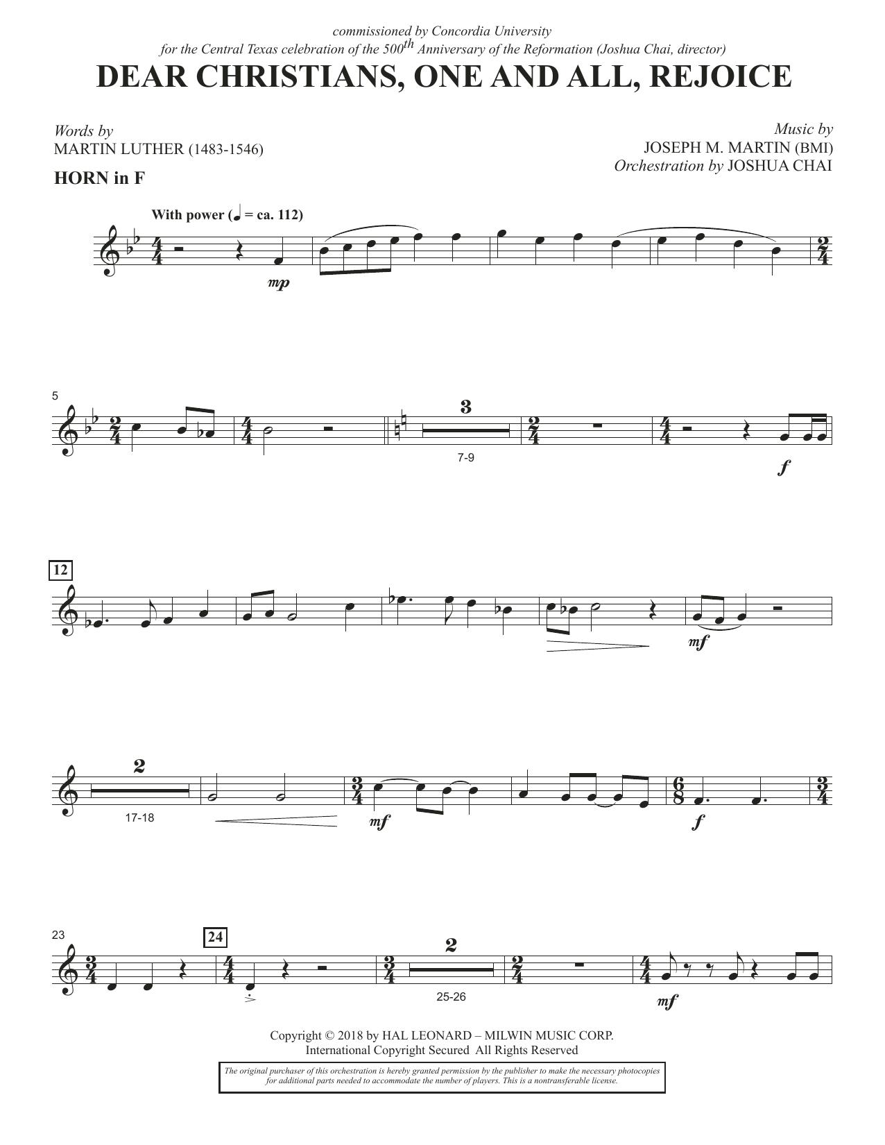 Dear Christians, One And All, Rejoice - F Horn (Choir Instrumental Pak)