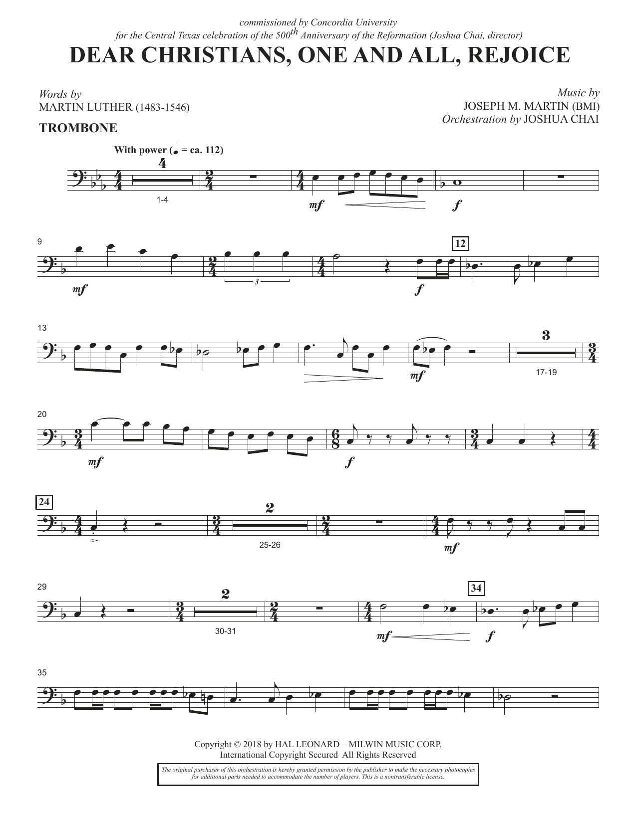 Dear Christians, One And All, Rejoice - Trombone (Choir Instrumental Pak)