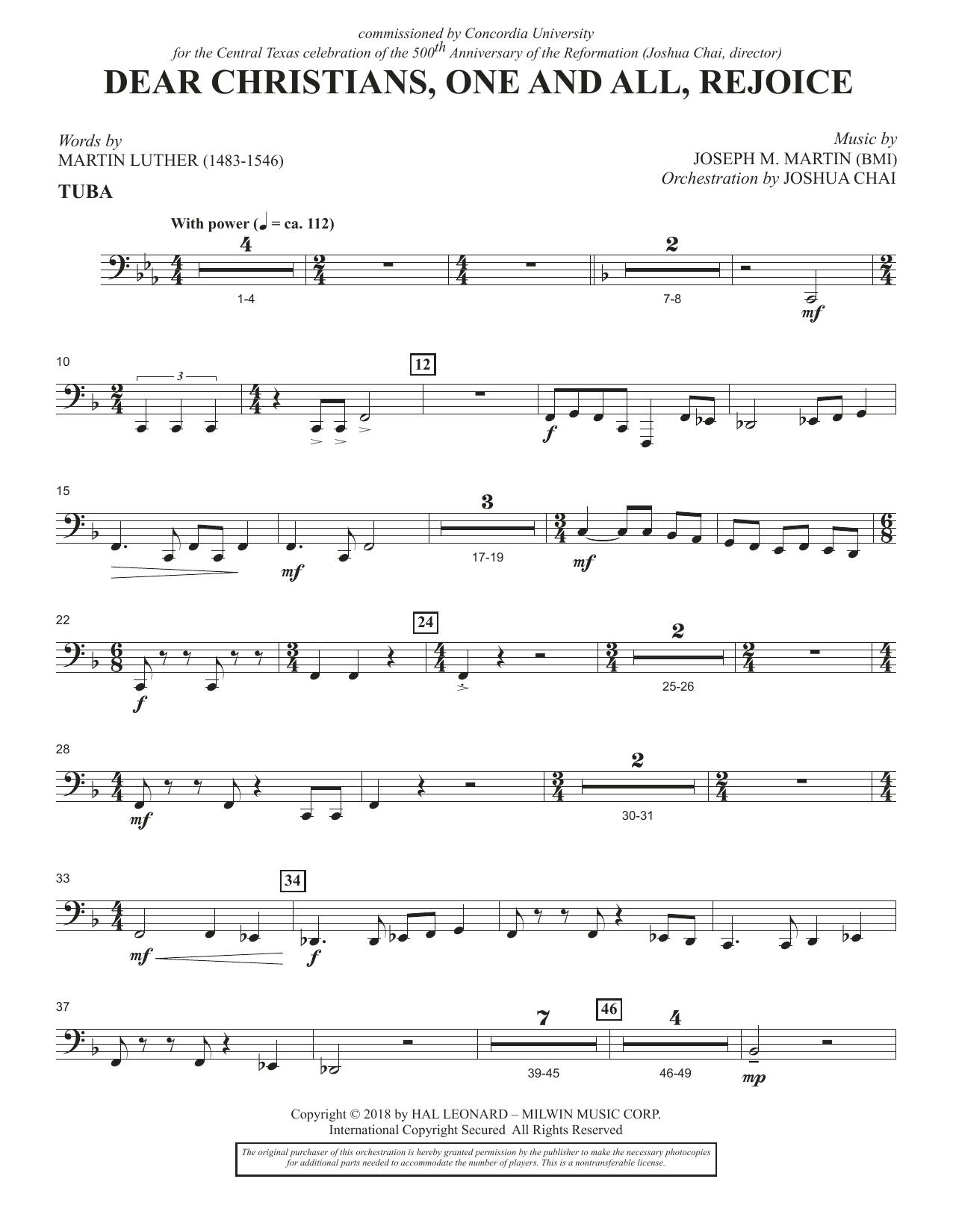 Dear Christians, One And All, Rejoice - Tuba (Choir Instrumental Pak)