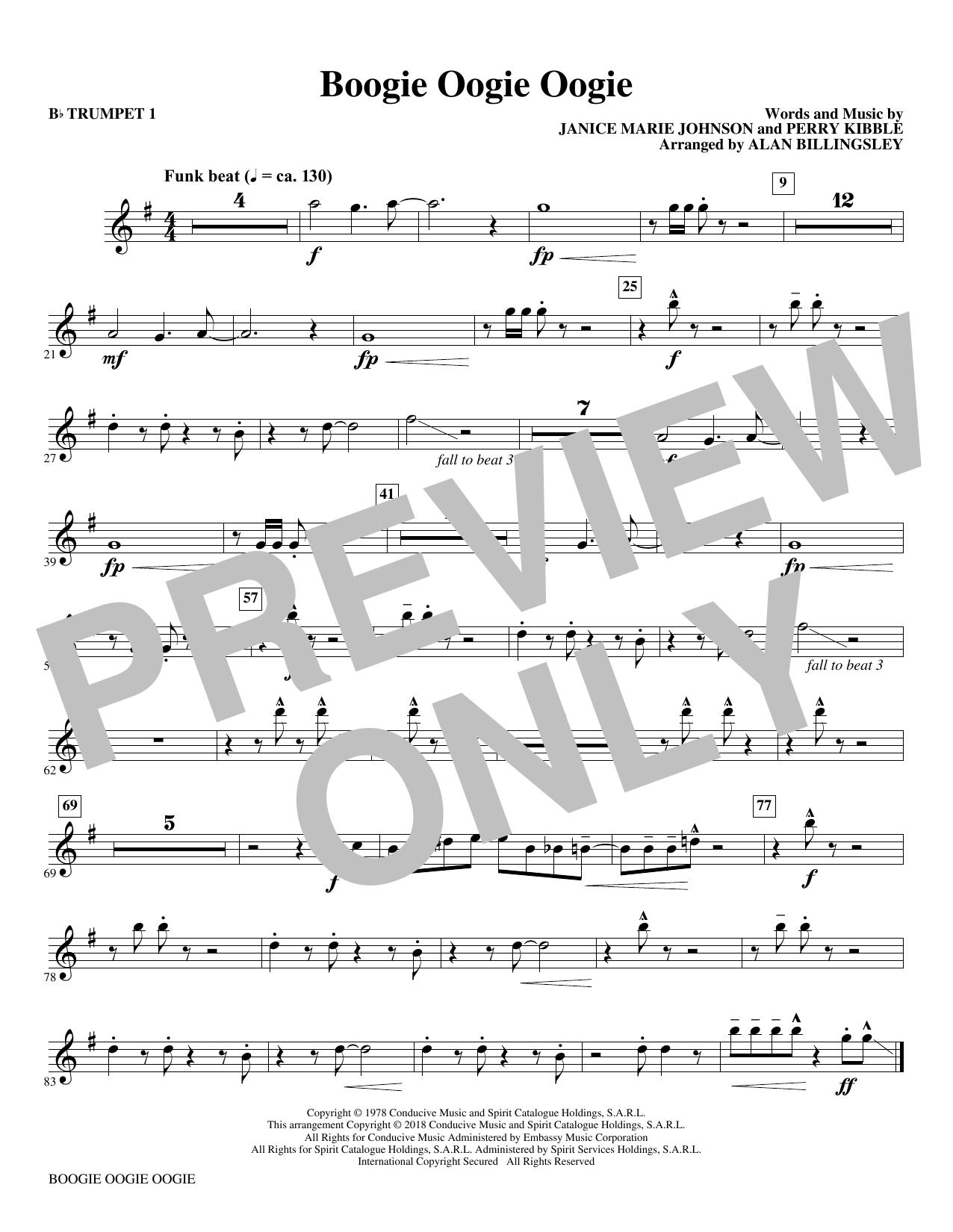 Boogie Oogie Oogie (arr. Alan Billingsley) - Bb Trumpet 1 (Choir Instrumental Pak)