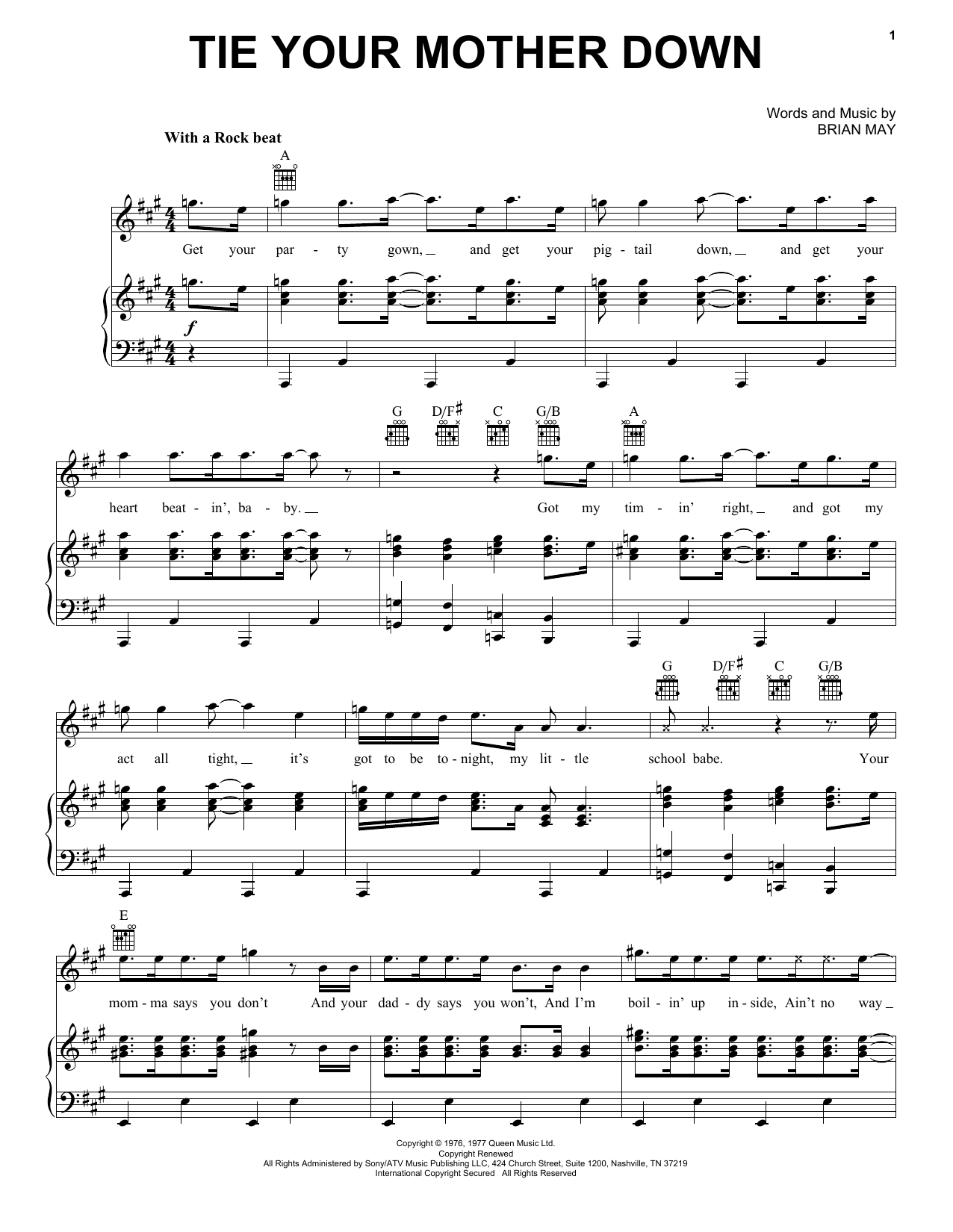 Tie Your Mother Down (Piano, Vocal & Guitar (Right-Hand Melody))