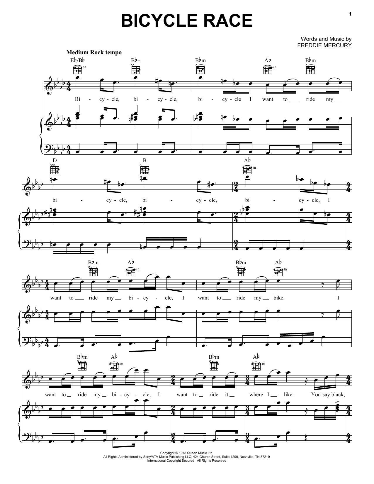Bicycle Race (Piano, Vocal & Guitar (Right-Hand Melody))