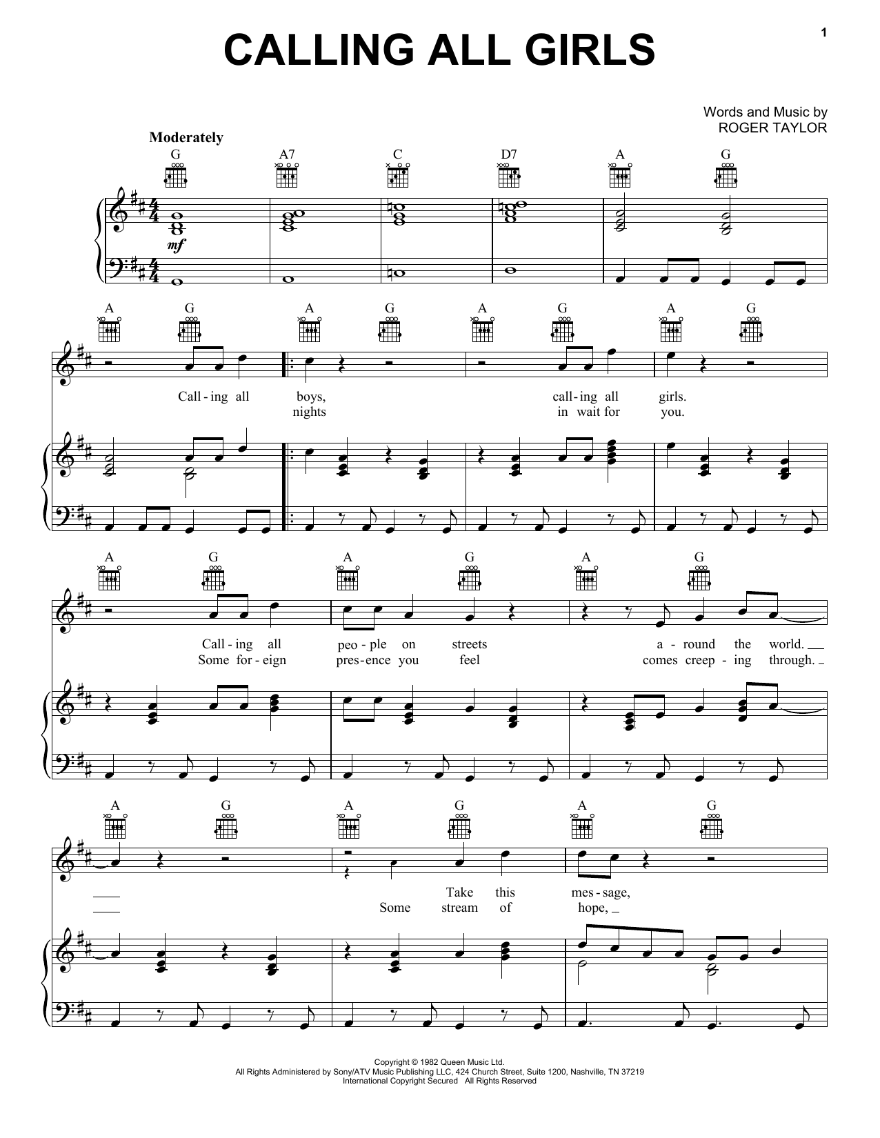 Calling All Girls (Piano, Vocal & Guitar (Right-Hand Melody))