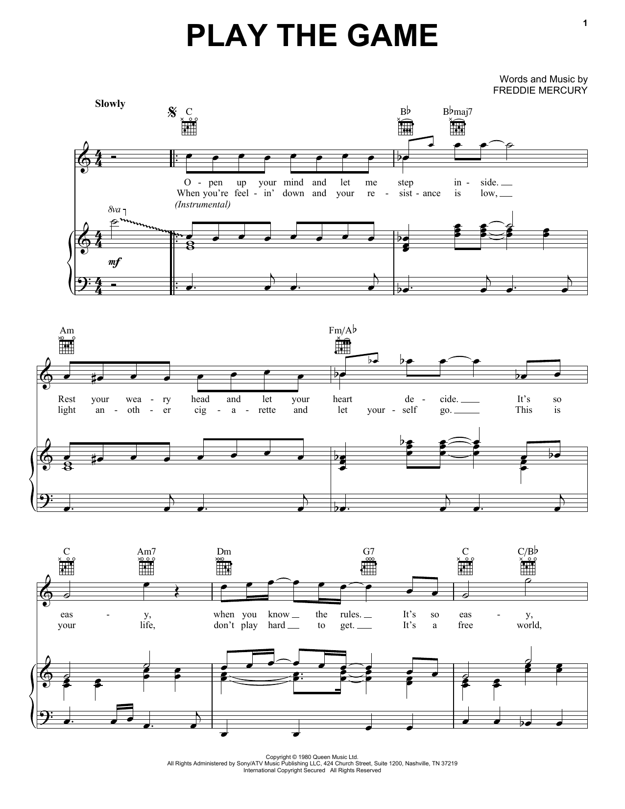 Play The Game (Piano, Vocal & Guitar (Right-Hand Melody))
