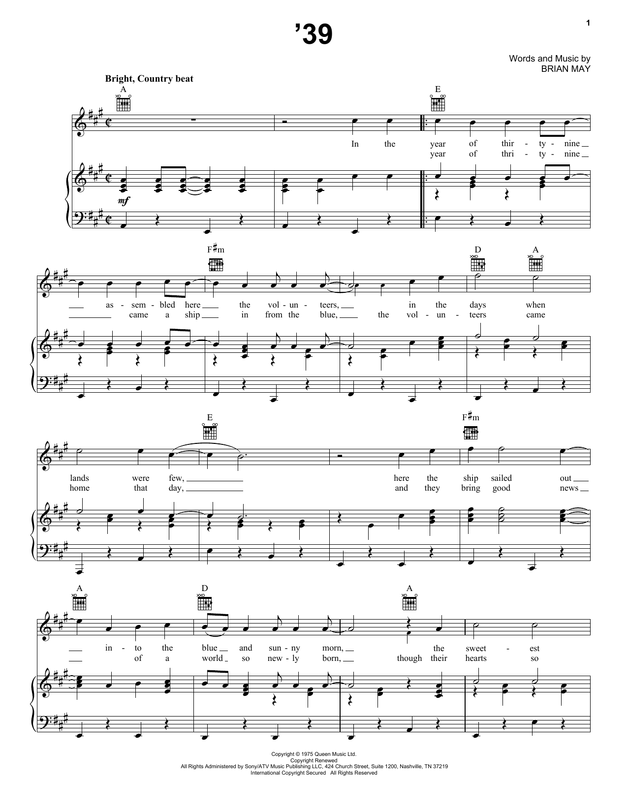 '39 (Piano, Vocal & Guitar (Right-Hand Melody))