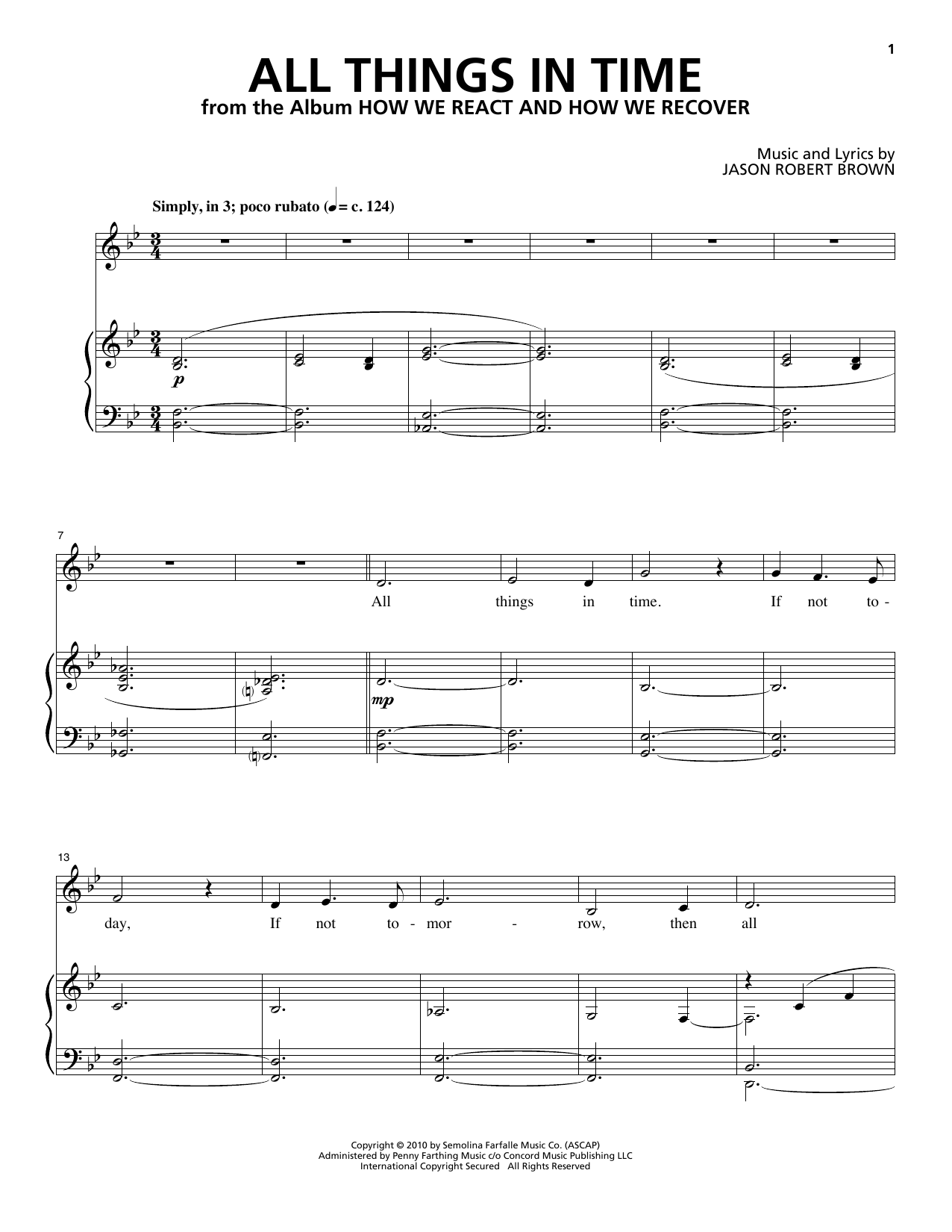 All Things In Time (from How We React And How We Recover) (Piano & Vocal)