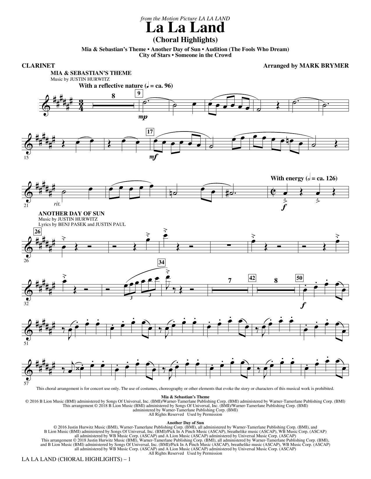 La La Land: Choral Highlights - Clarinet Sheet Music