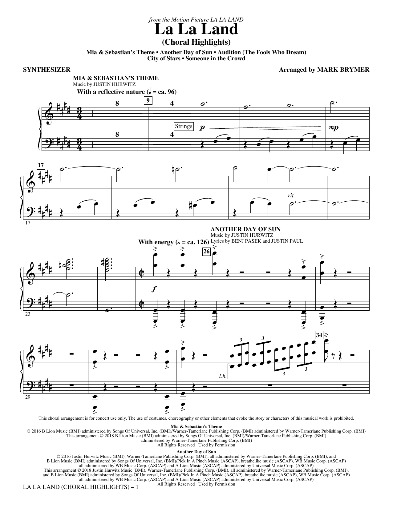 La La Land: Choral Highlights (arr. Mark Brymer) - Synthesizer Sheet Music