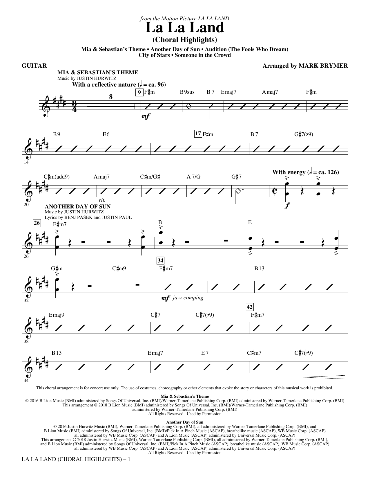 La La Land: Choral Highlights (arr. Mark Brymer) - Guitar Sheet Music