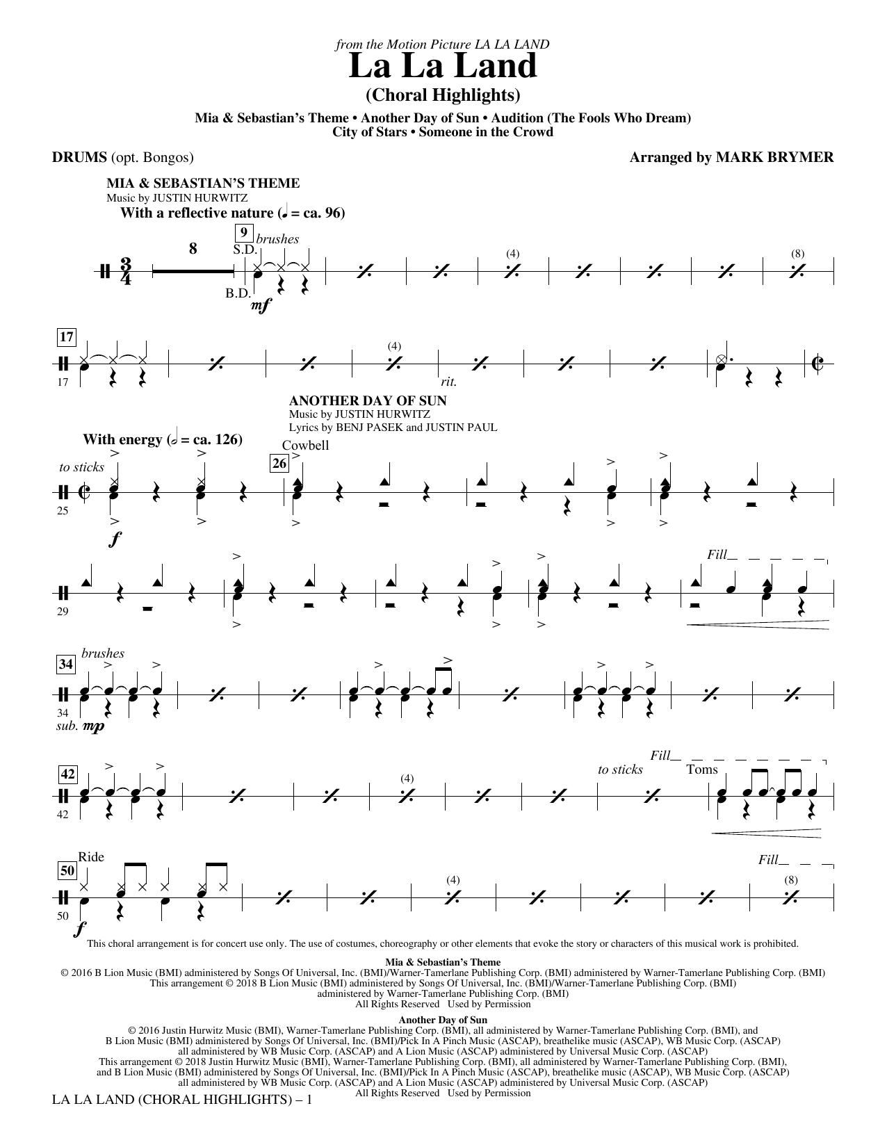 La La Land: Choral Highlights (arr. Mark Brymer) - Drums Digitale Noten