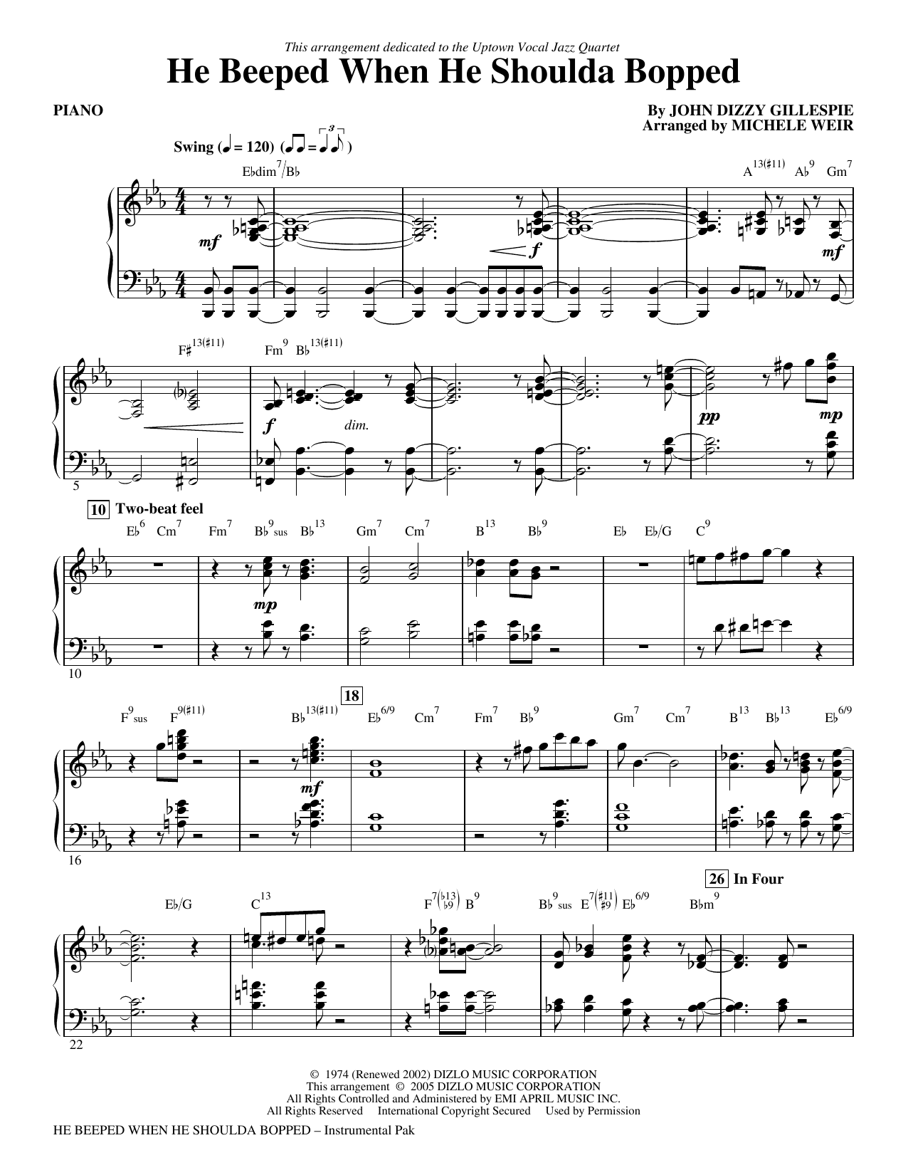 He Beeped When He Shoulda Bopped (arr. Michele Weir) - Piano Sheet Music