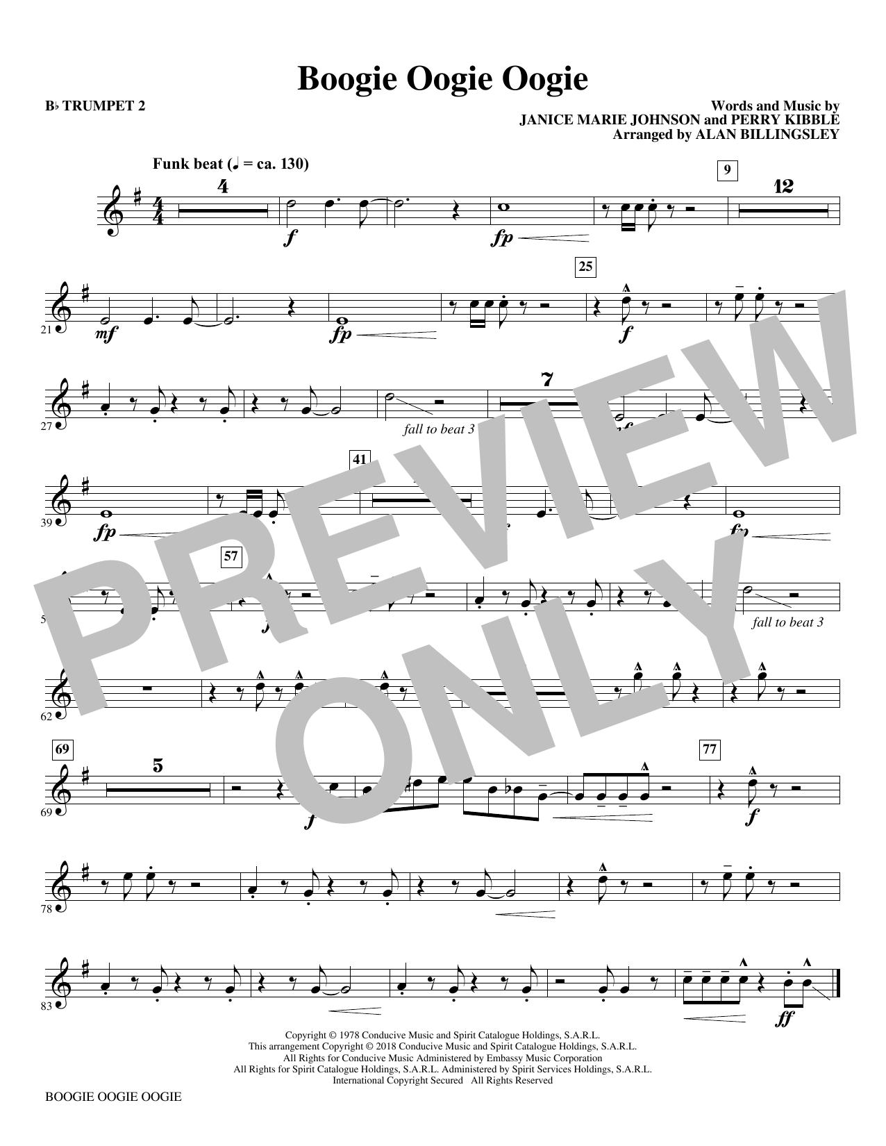 Boogie Oogie Oogie (arr. Alan Billingsley) - Bb Trumpet 2 (Choir Instrumental Pak)