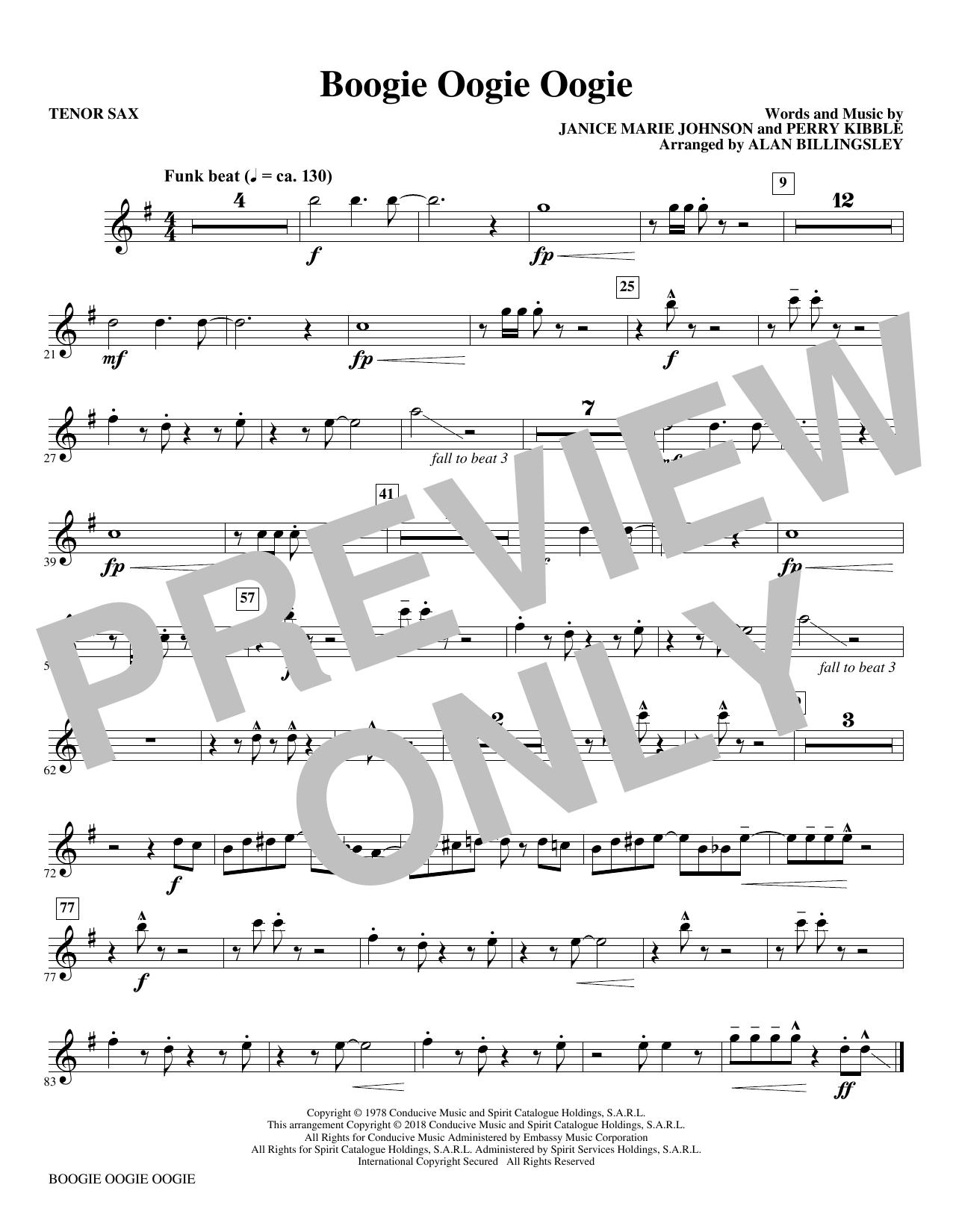 Boogie Oogie Oogie (arr. Alan Billingsley) - Bb Tenor Saxophone (Choir Instrumental Pak)