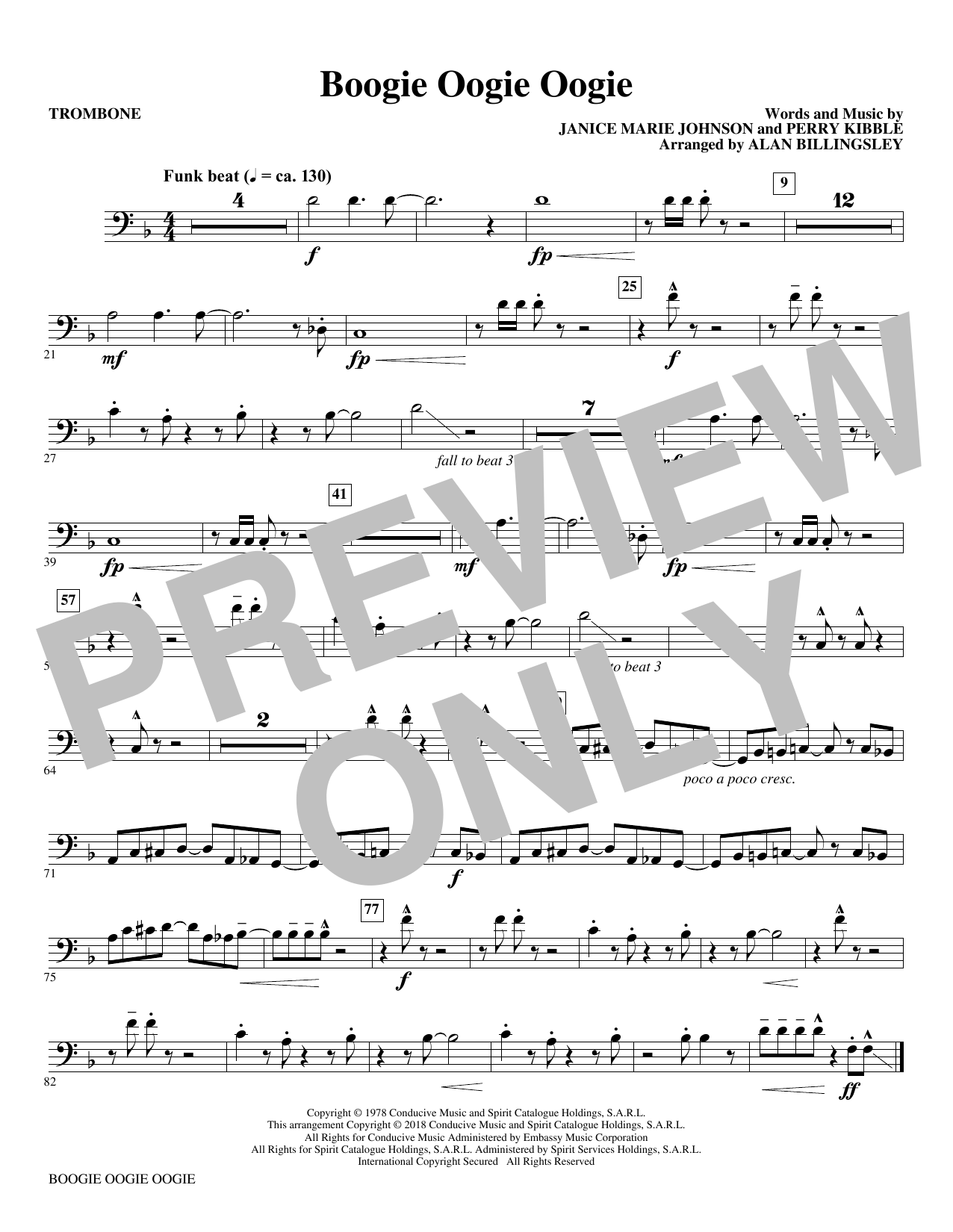 Boogie Oogie Oogie (arr. Alan Billingsley) - Trombone (Choir Instrumental Pak)