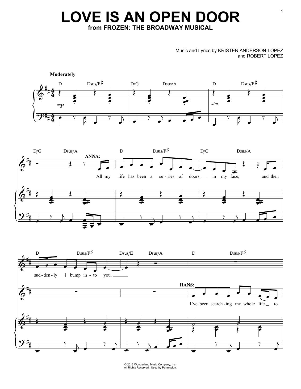 Love Is An Open Door (from Frozen) (Piano & Vocal)