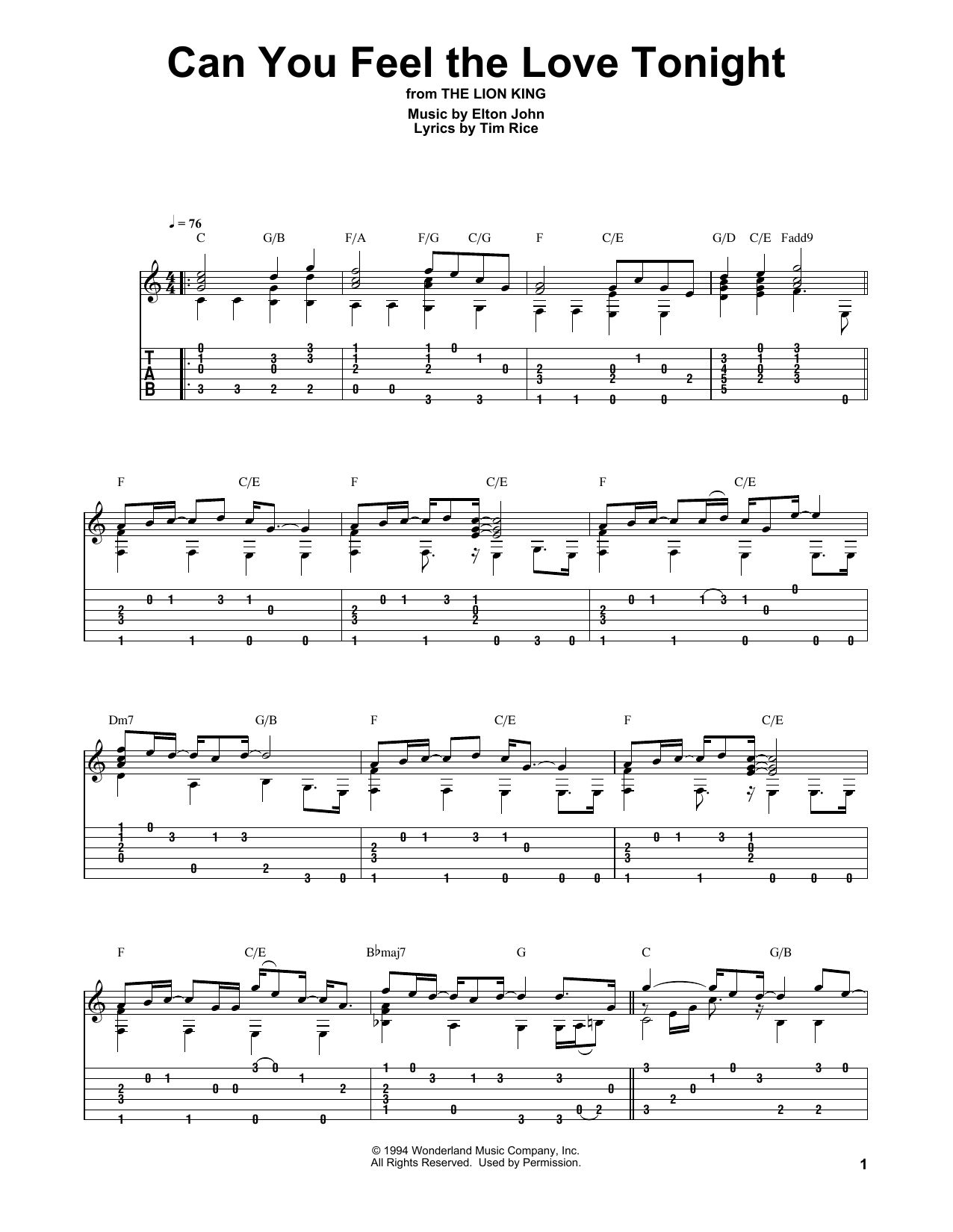Can You Feel The Love Tonight (from The Lion King) (Solo Guitar Tab)