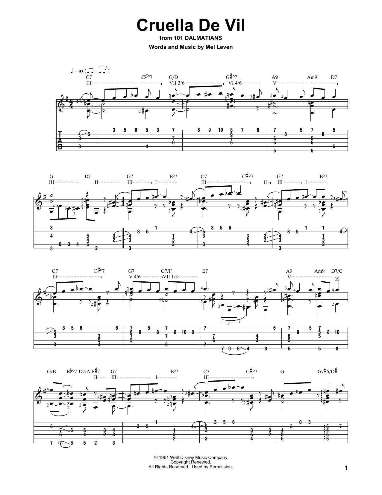 Cruella De Vil (Solo Guitar Tab)