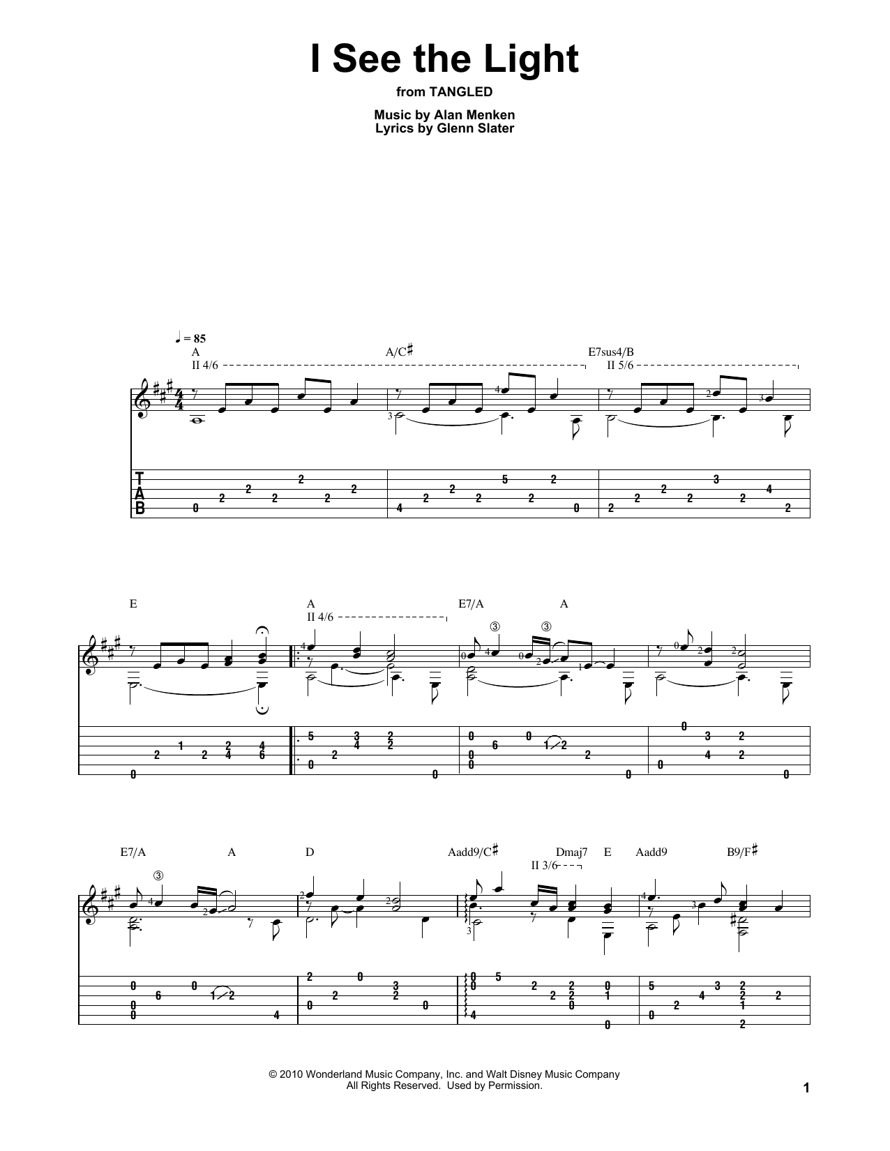 I See The Light (from Disney's Tangled) (Solo Guitar Tab)