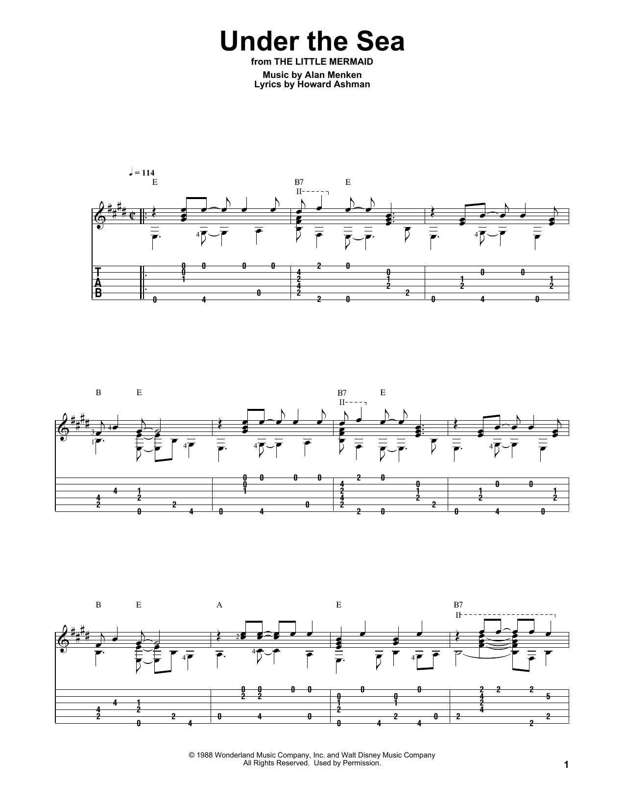 Under The Sea Sheet Music