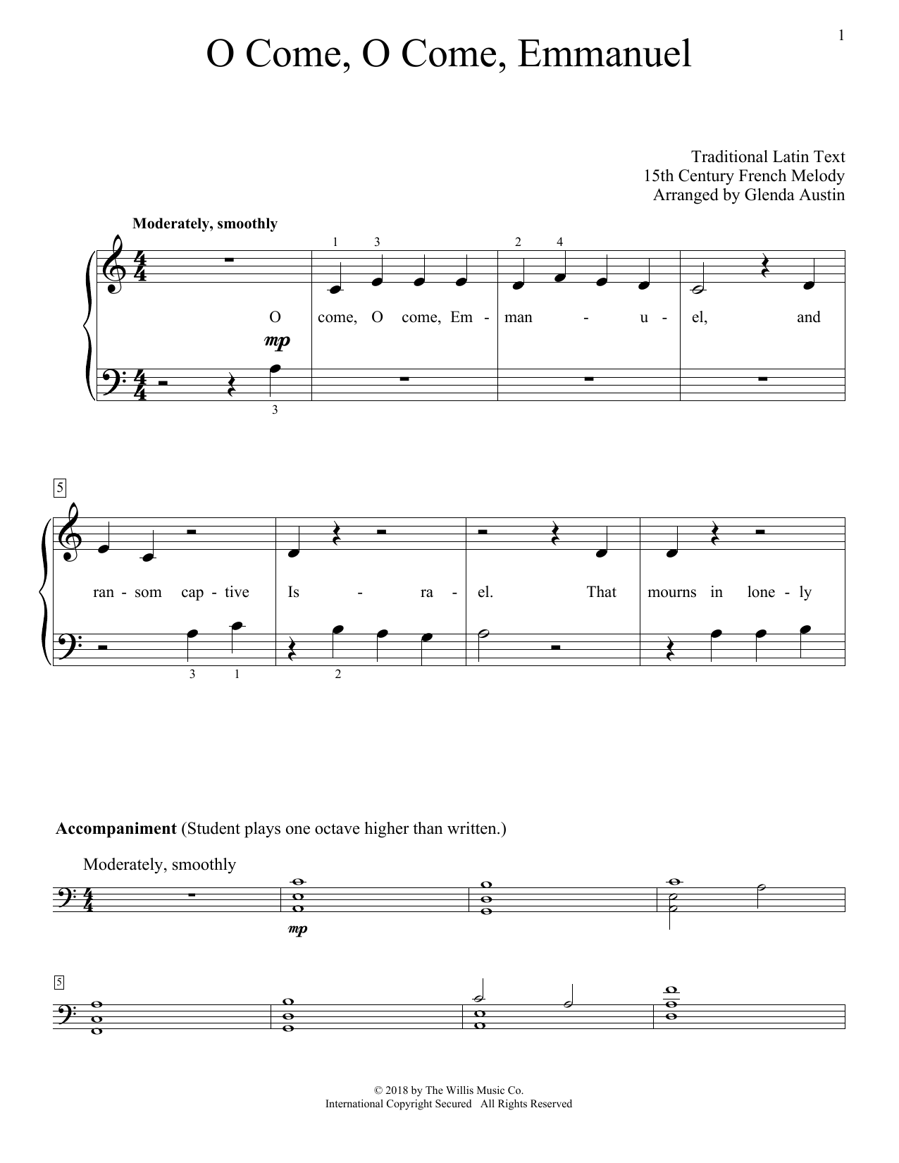 O Come, O Come, Emmanuel (Educational Piano)