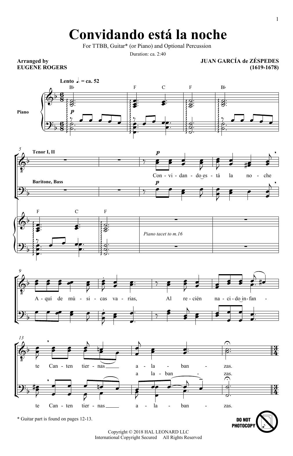 Convidando Esta La Noche (arr. Eugene Rogers) (TTBB Choir)