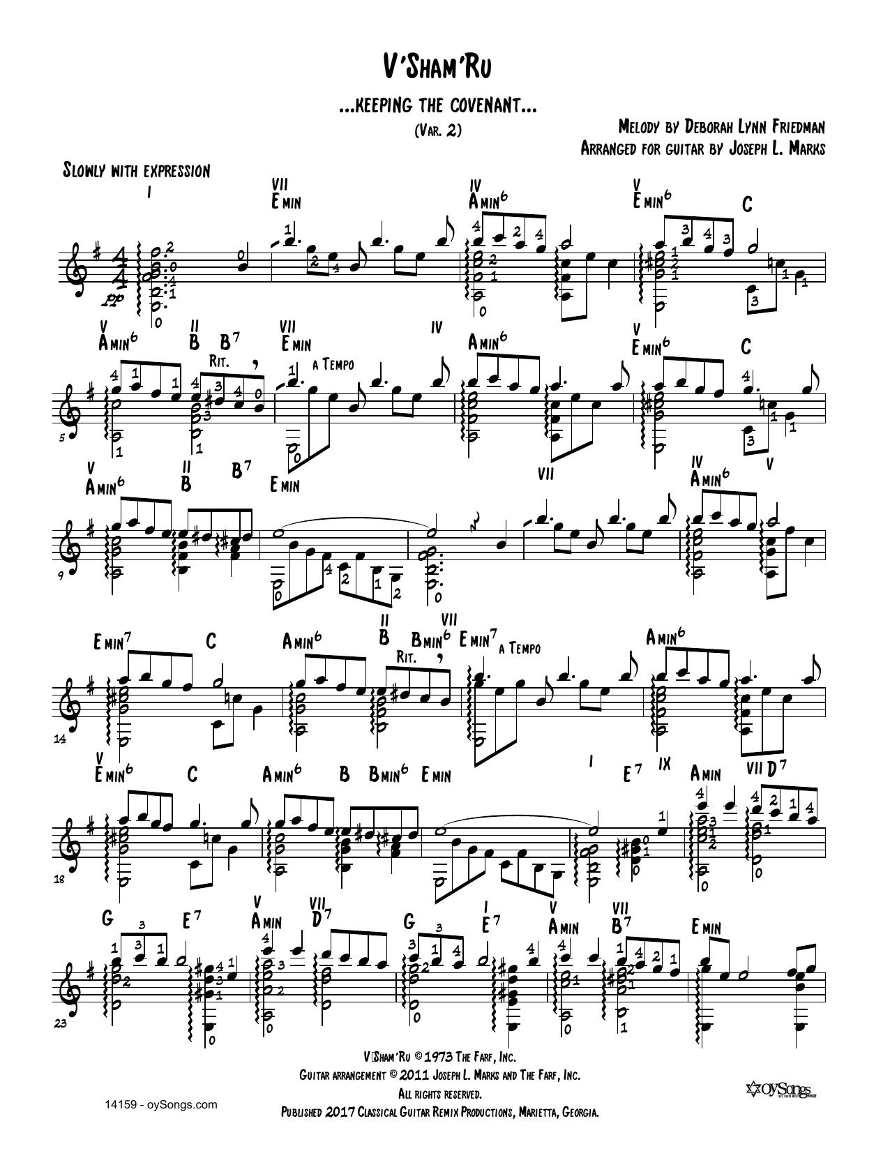 V'shamru Var 2 Sheet Music
