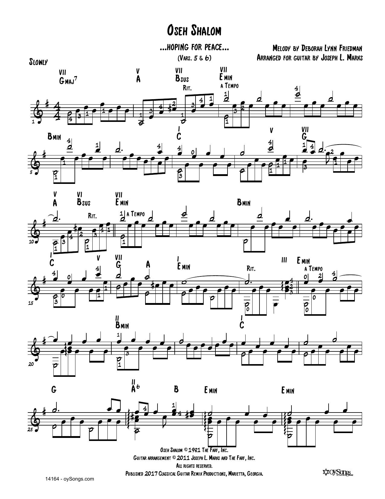 Oseh Shalom Vars 5,6 Sheet Music