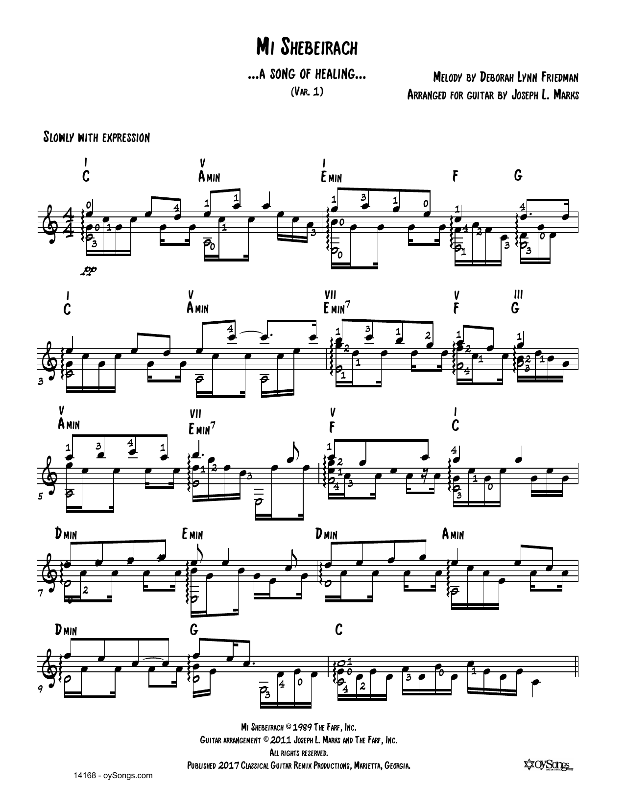 Mi Shebeirach Var 1 Sheet Music