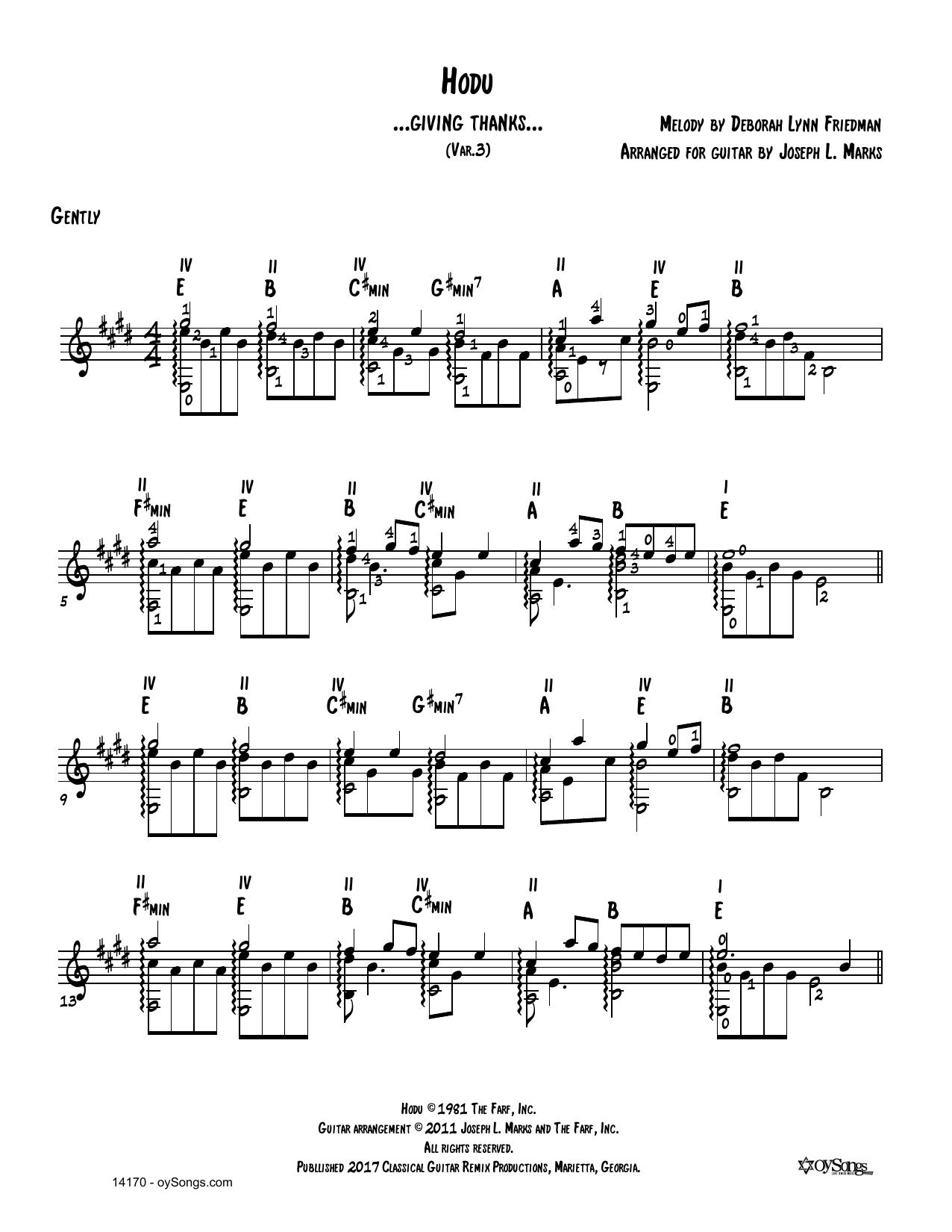 Hodu Vars 1, 2 Sheet Music