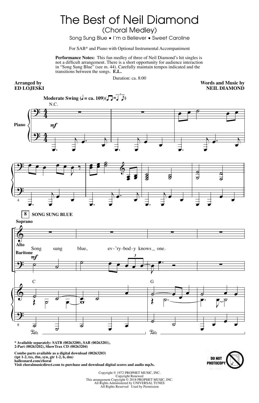 The Best of Neil Diamond (arr. Ed Lojeski) Sheet Music
