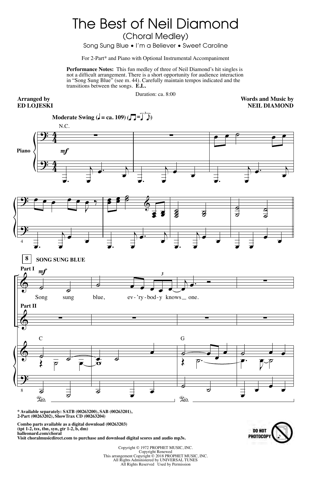 The Best of Neil Diamond (arr. Ed Lojeski) Sheet Music