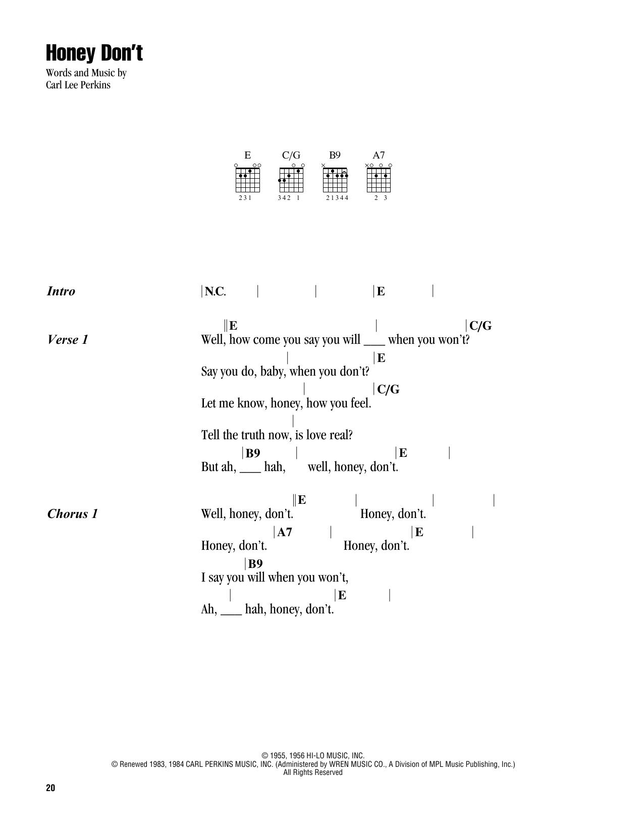 Honey Don't (Lyrics & Chords)