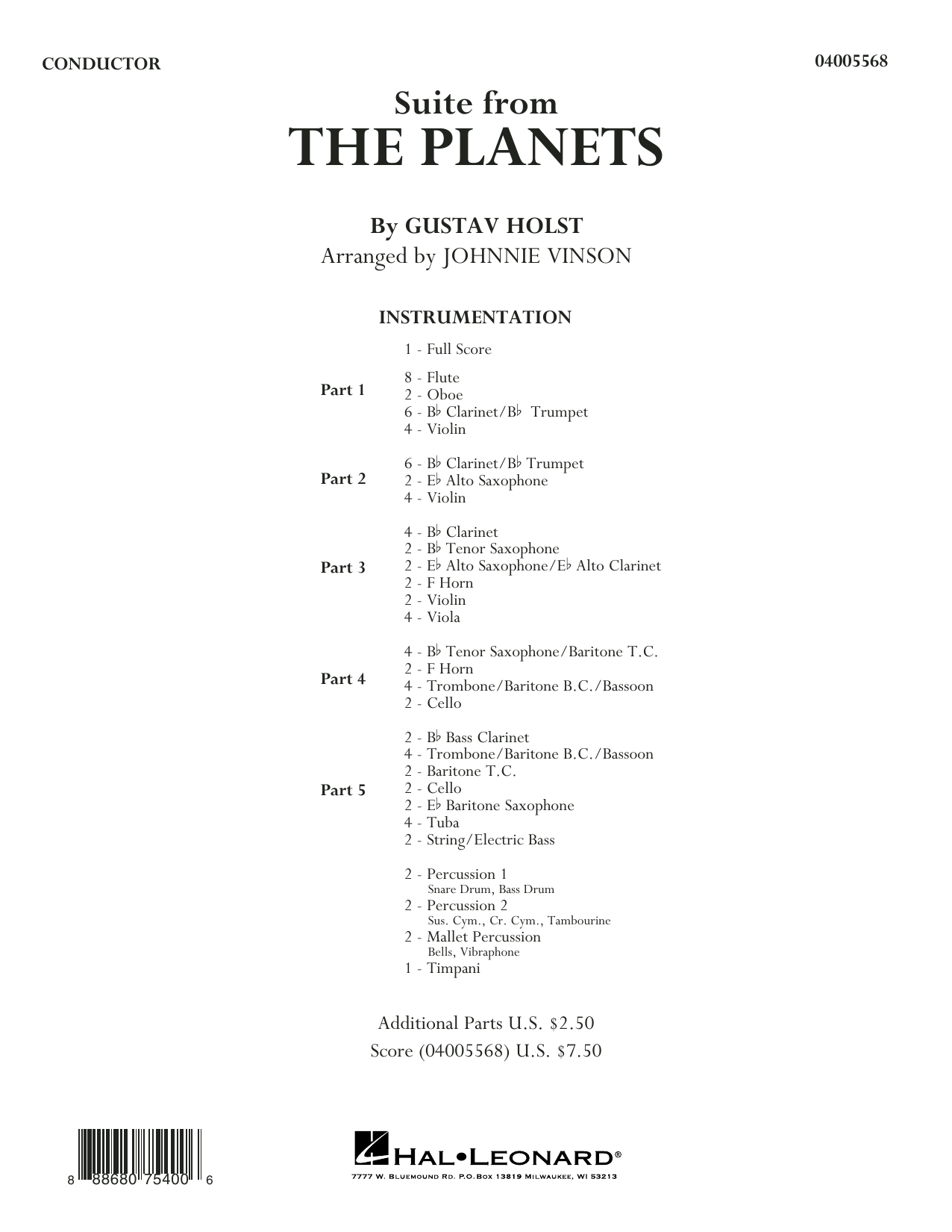 Suite from the Planets - Conductor Score (Full Score) (Concert Band: Flex-Band)