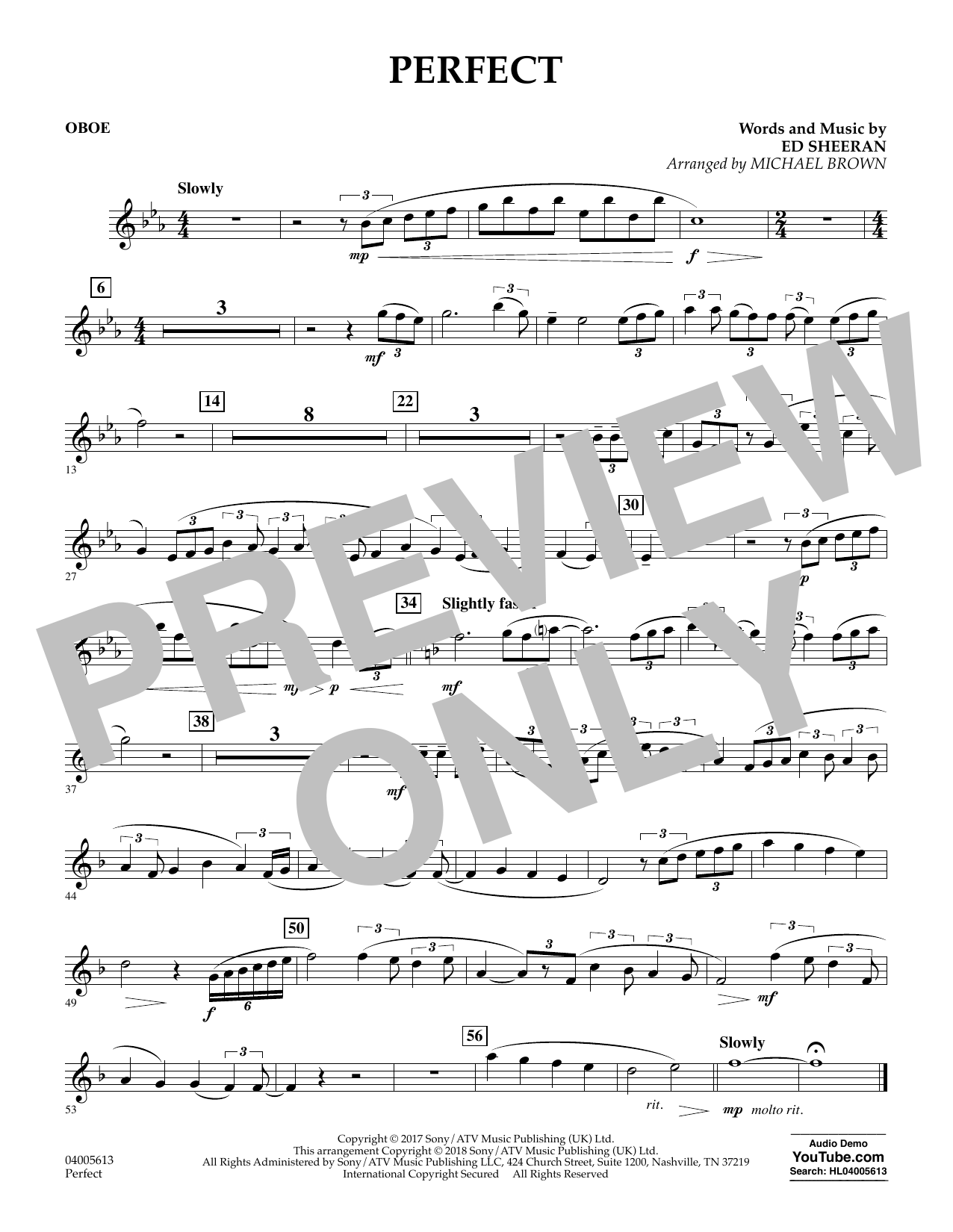 Perfect (arr. Michael Brown) - Oboe (Concert Band)